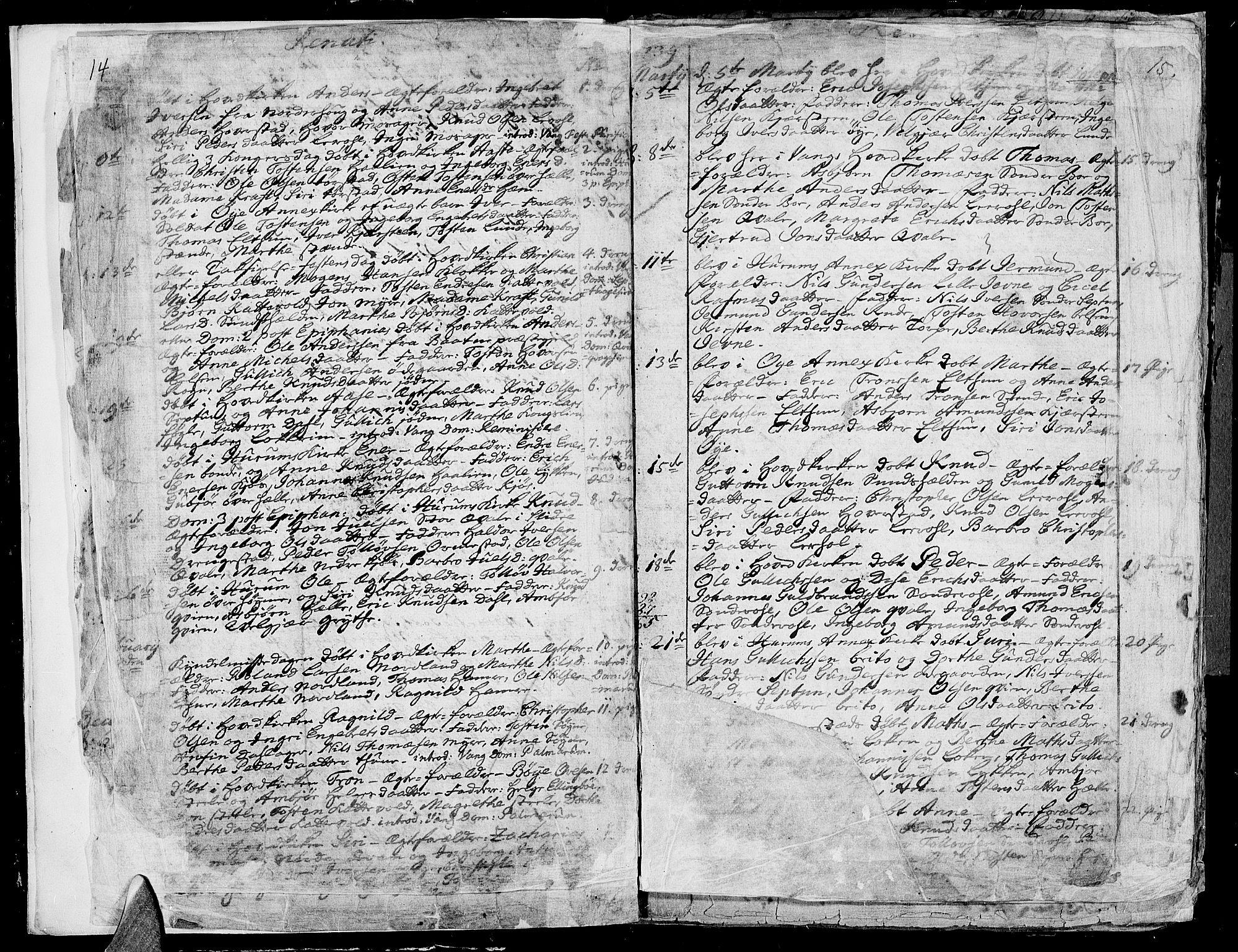 SAH, Vang prestekontor, Valdres, Ministerialbok nr. 1, 1730-1796, s. 14-15