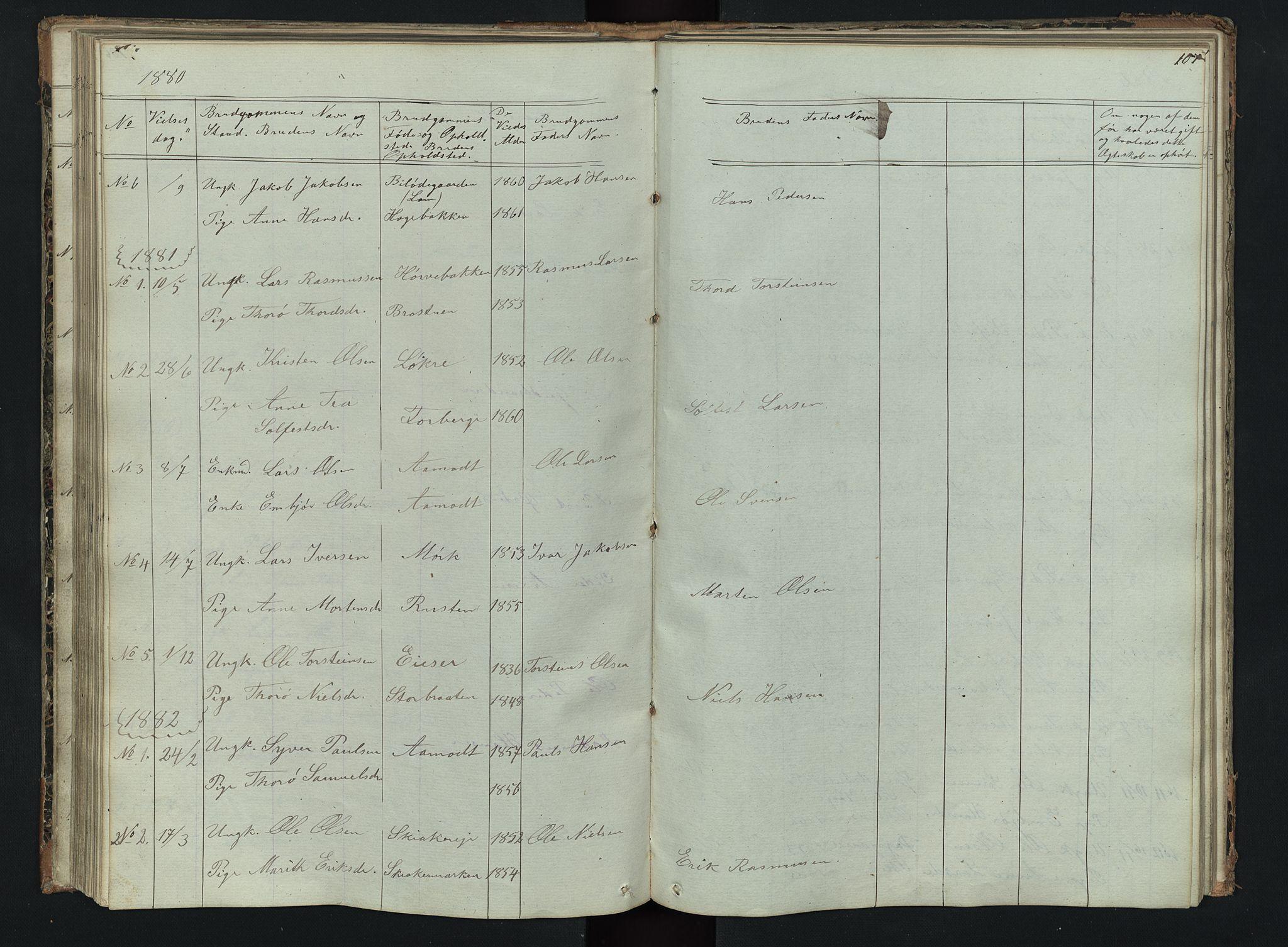 SAH, Skjåk prestekontor, Klokkerbok nr. 2, 1867-1894, s. 107