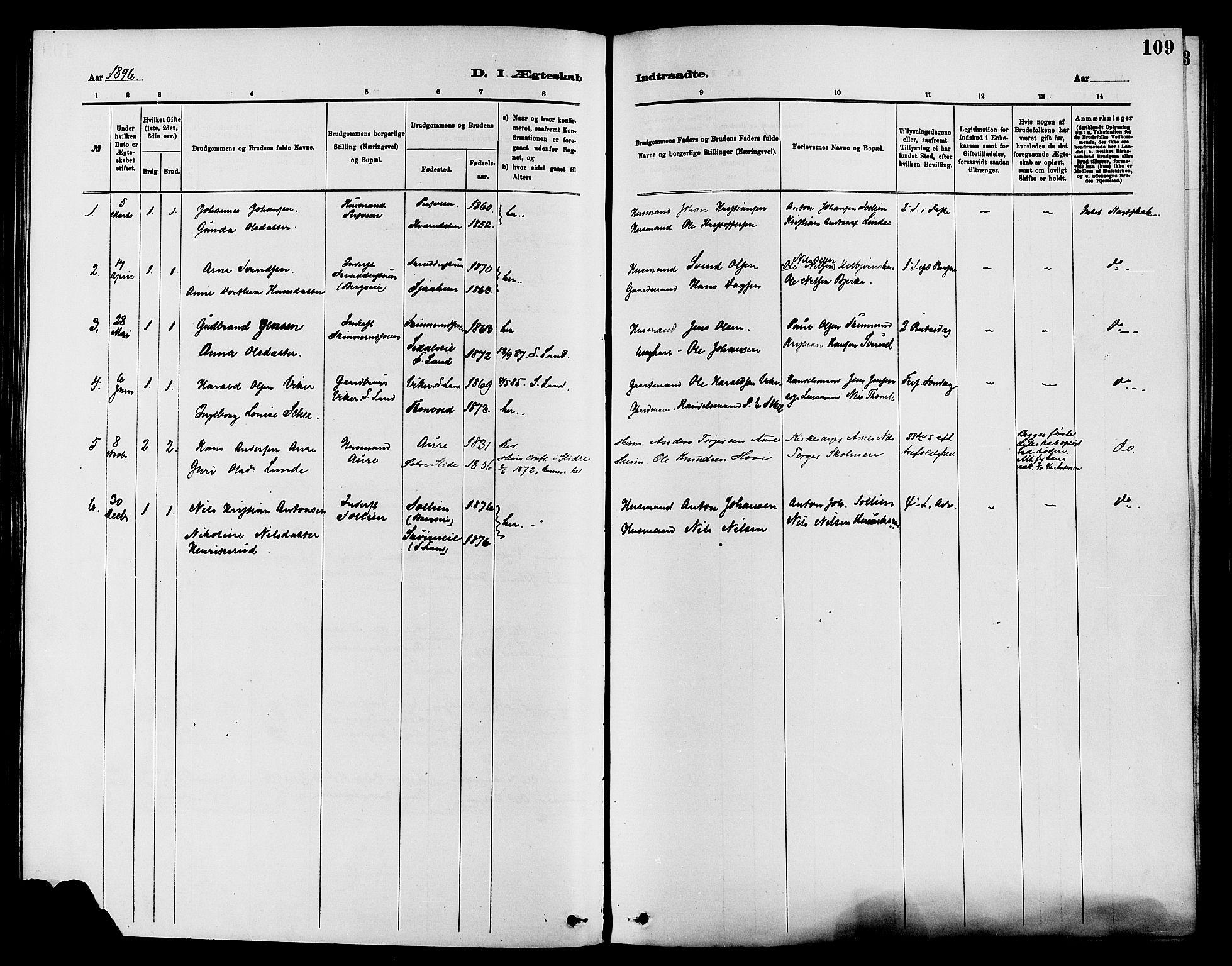 SAH, Nordre Land prestekontor, Ministerialbok nr. 3, 1882-1896, s. 109