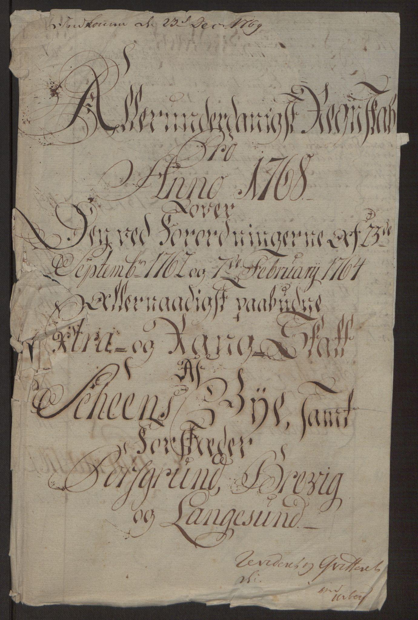 RA, Rentekammeret inntil 1814, Reviderte regnskaper, Byregnskaper, R/Rj/L0198: [J4] Kontribusjonsregnskap, 1762-1768, s. 471