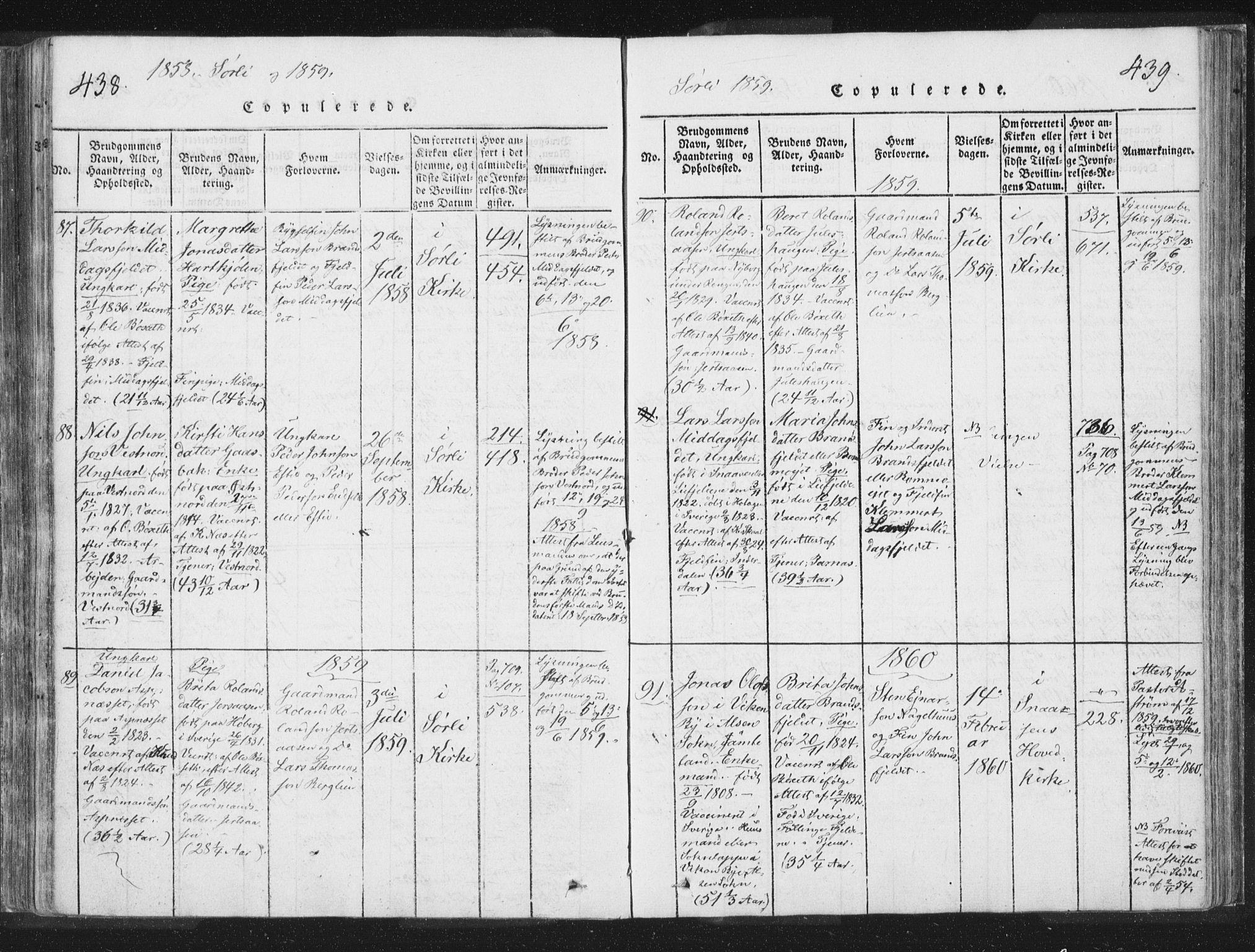 SAT, Ministerialprotokoller, klokkerbøker og fødselsregistre - Nord-Trøndelag, 755/L0491: Ministerialbok nr. 755A01 /2, 1817-1864, s. 438-439
