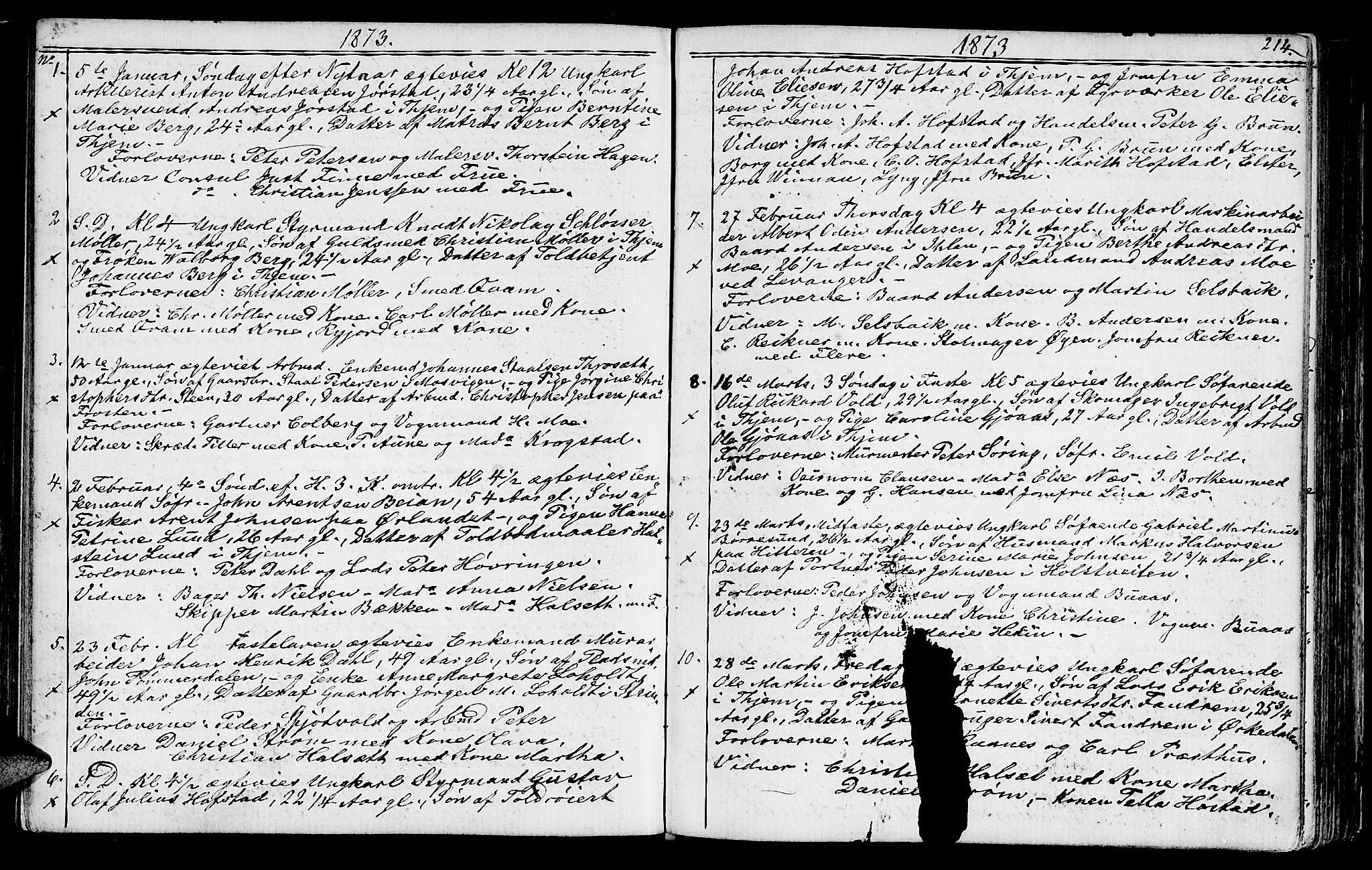 SAT, Ministerialprotokoller, klokkerbøker og fødselsregistre - Sør-Trøndelag, 602/L0142: Klokkerbok nr. 602C10, 1872-1894, s. 214