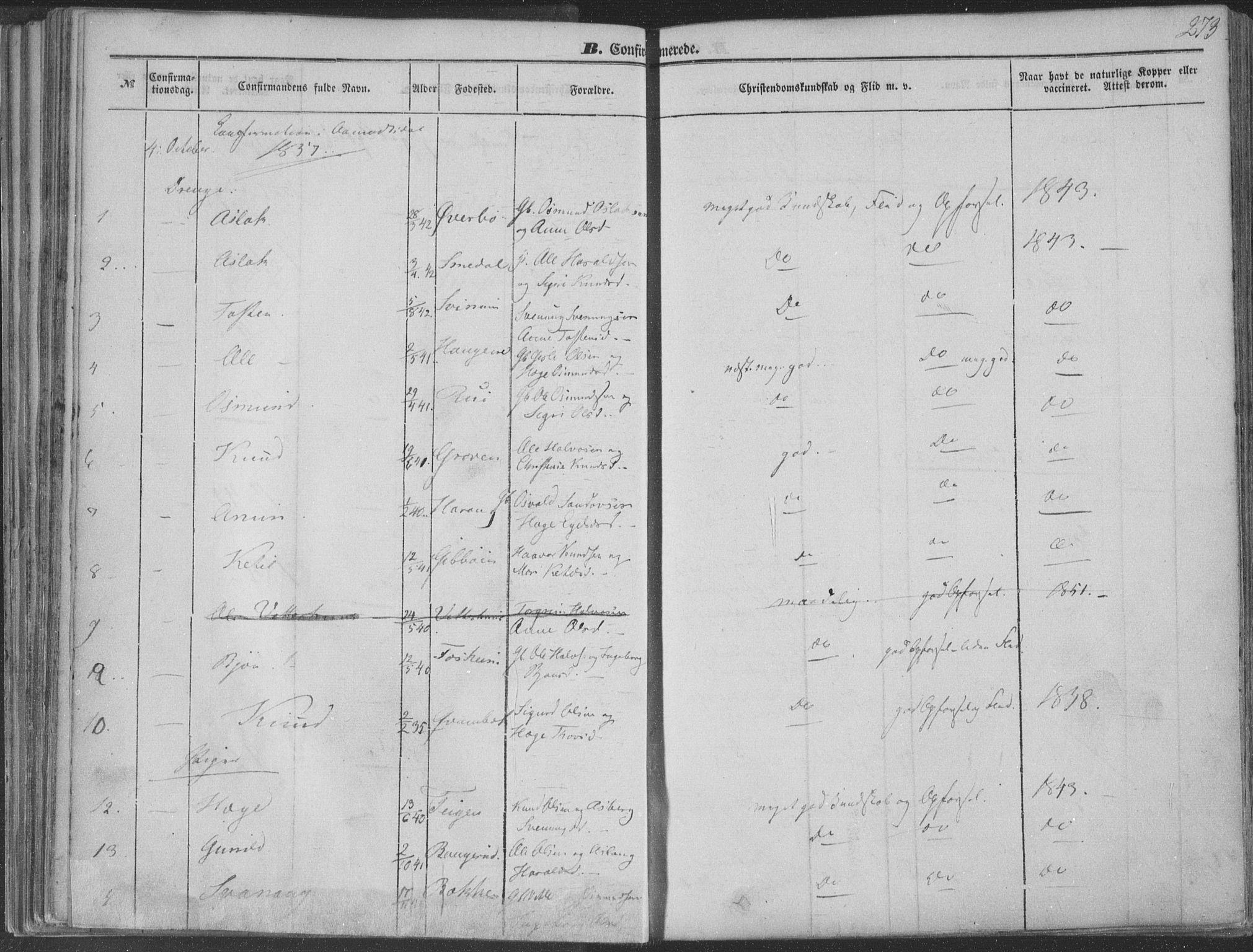 SAKO, Seljord kirkebøker, F/Fa/L012b: Ministerialbok nr. I 12B, 1850-1865, s. 273