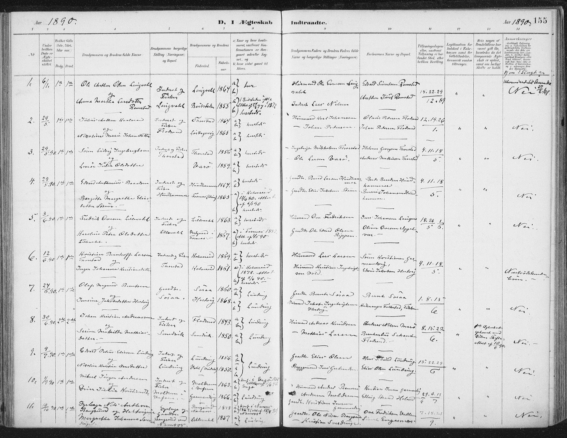 SAT, Ministerialprotokoller, klokkerbøker og fødselsregistre - Nord-Trøndelag, 784/L0673: Ministerialbok nr. 784A08, 1888-1899, s. 155