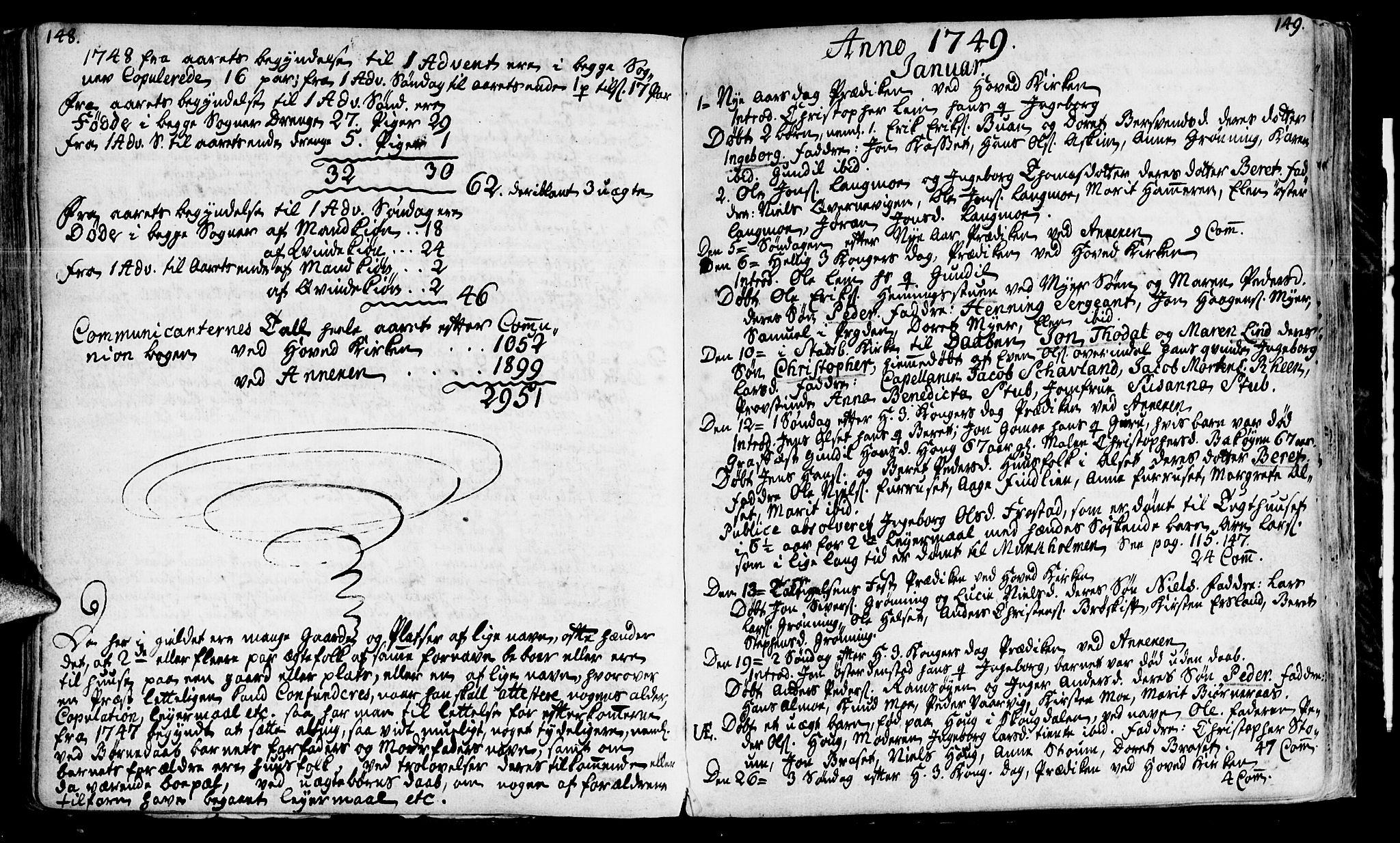SAT, Ministerialprotokoller, klokkerbøker og fødselsregistre - Sør-Trøndelag, 646/L0604: Ministerialbok nr. 646A02, 1735-1750, s. 148-149
