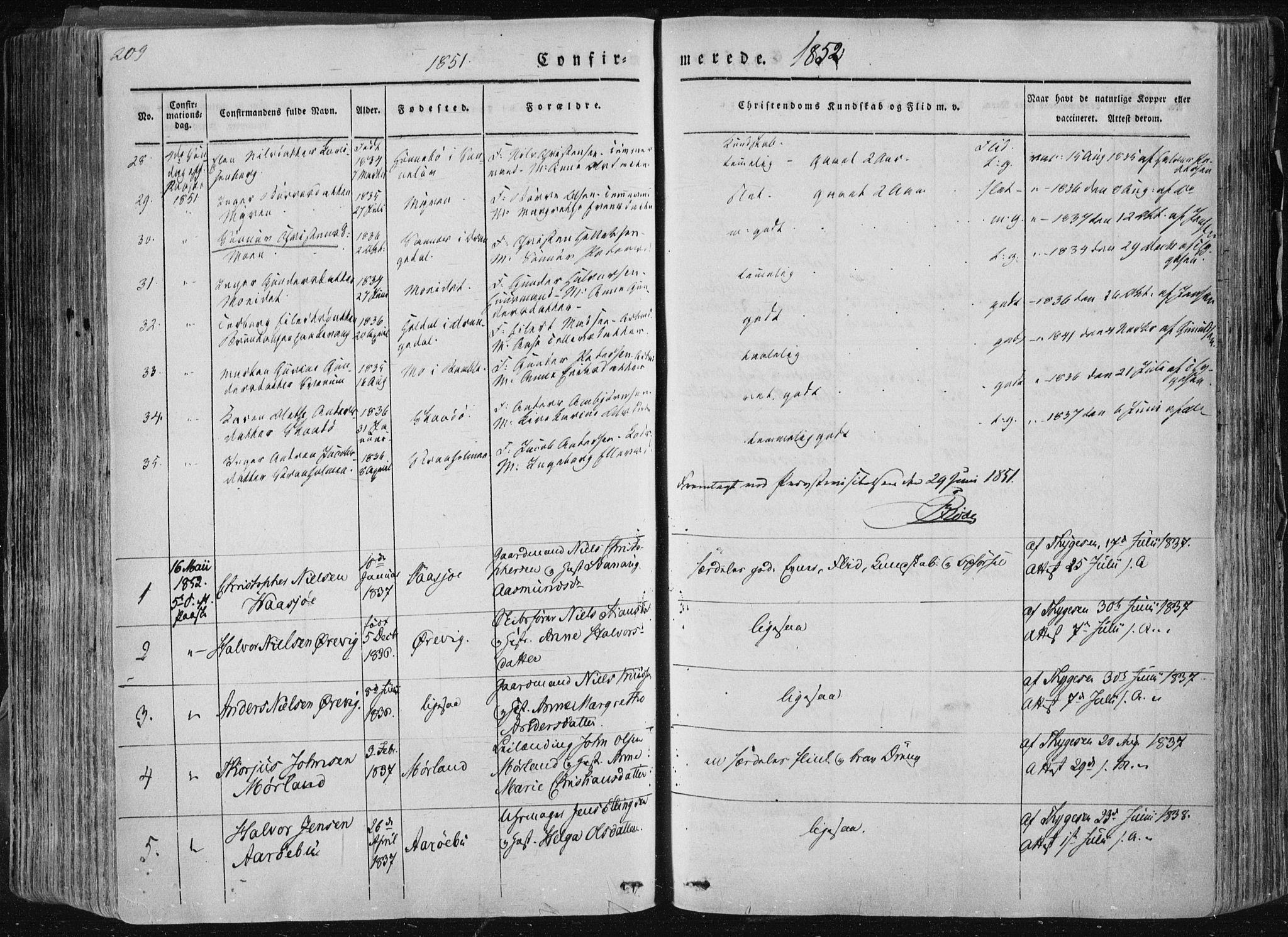 SAKO, Sannidal kirkebøker, F/Fa/L0007: Ministerialbok nr. 7, 1831-1854, s. 209