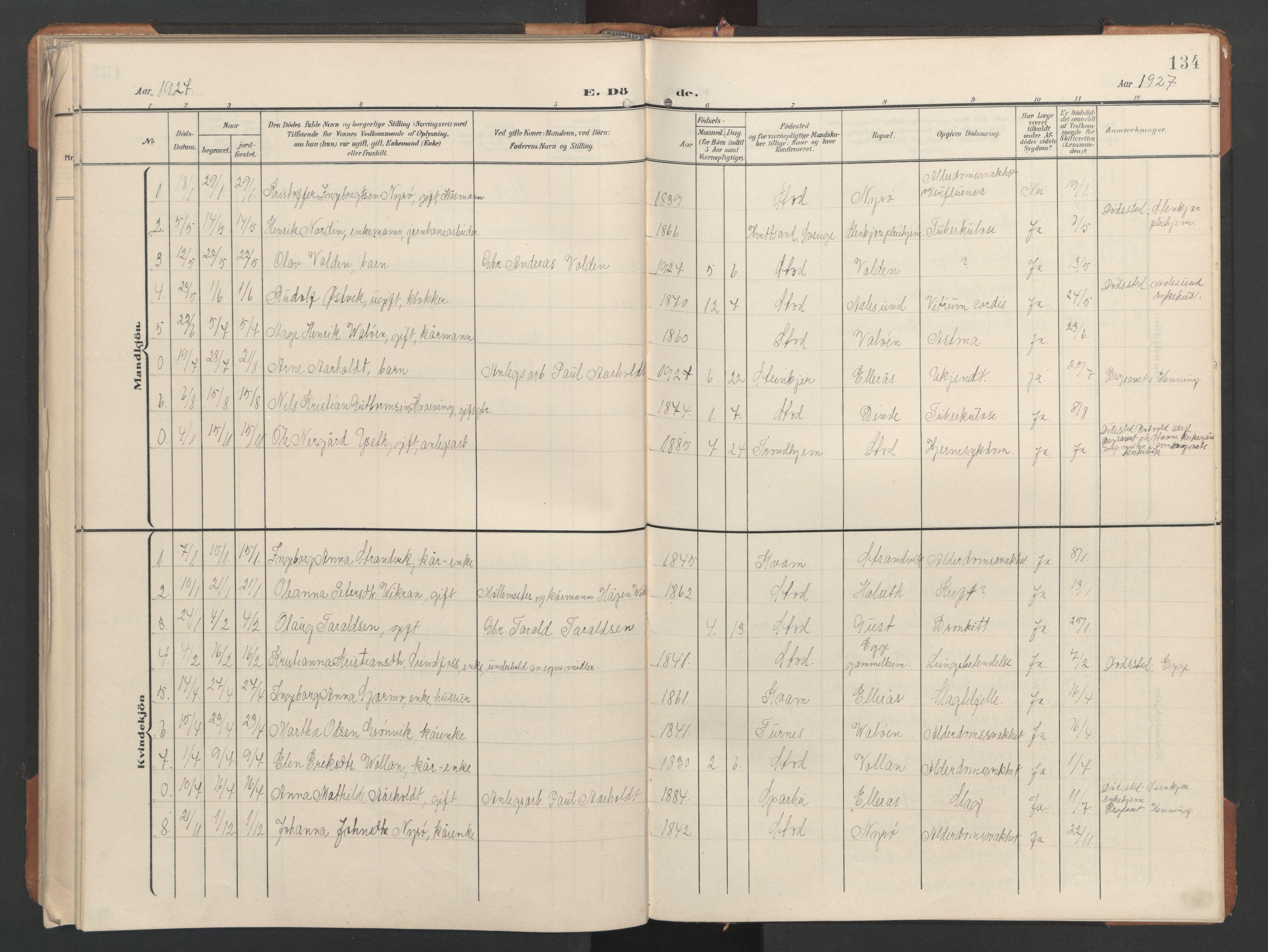 SAT, Ministerialprotokoller, klokkerbøker og fødselsregistre - Nord-Trøndelag, 746/L0455: Klokkerbok nr. 746C01, 1908-1933, s. 134