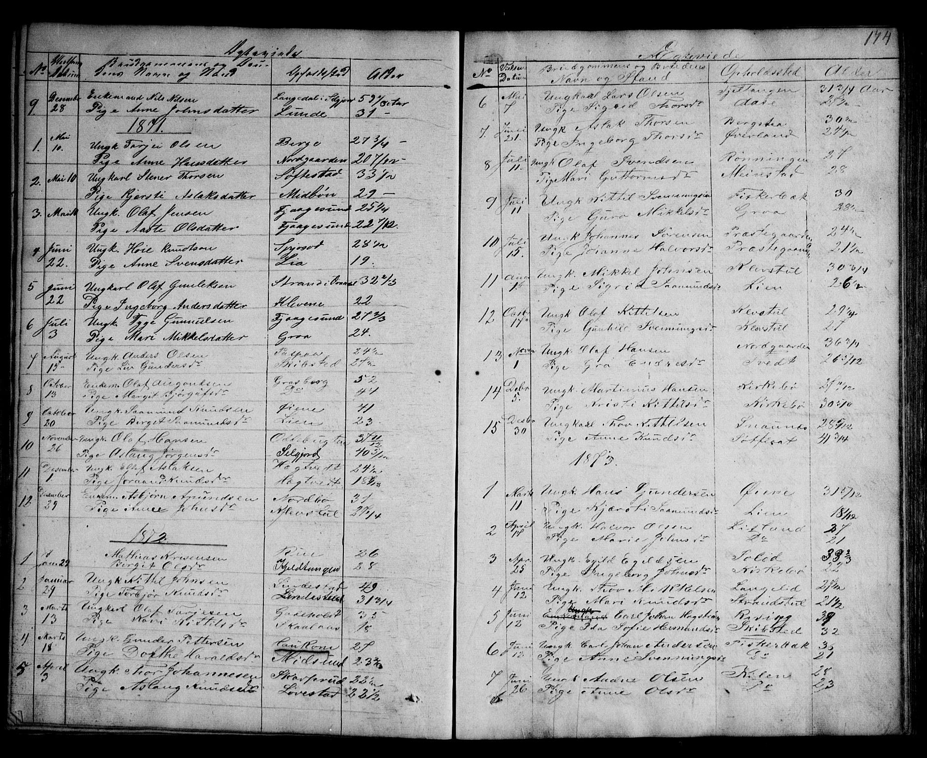 SAKO, Kviteseid kirkebøker, G/Ga/L0001: Klokkerbok nr. I 1, 1850-1893, s. 174