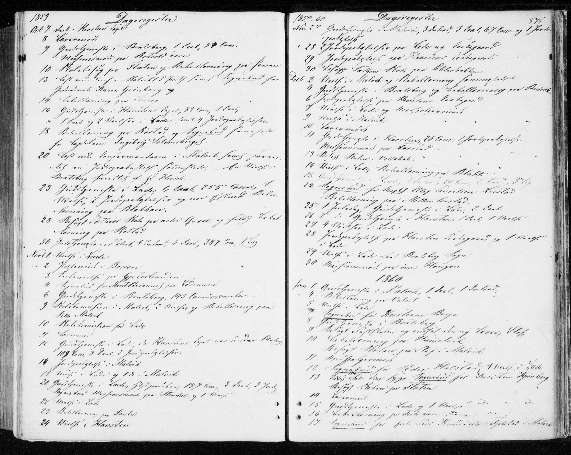 SAT, Ministerialprotokoller, klokkerbøker og fødselsregistre - Sør-Trøndelag, 606/L0292: Ministerialbok nr. 606A07, 1856-1865, s. 575
