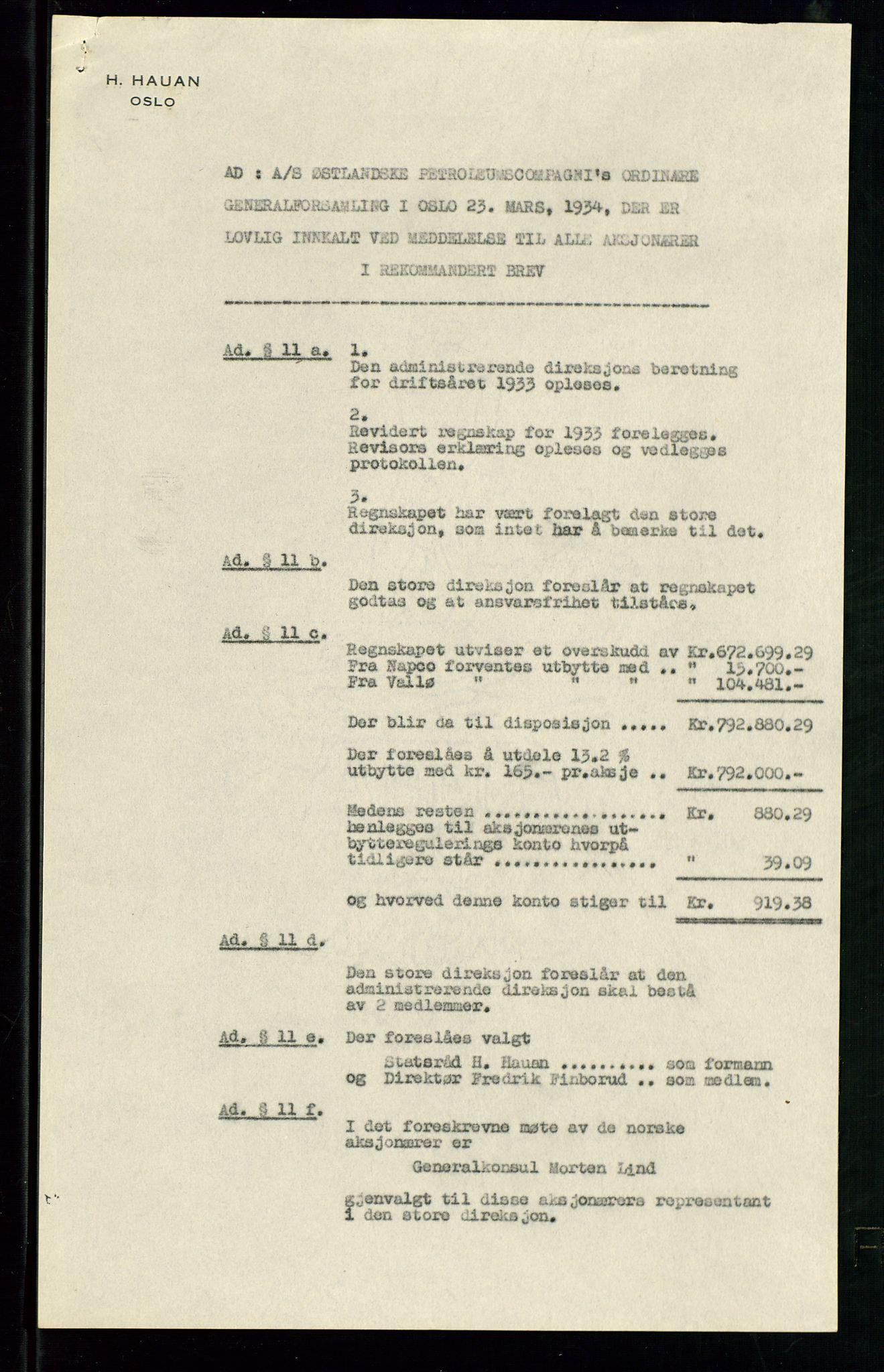 SAST, PA 1534 - Østlandske Petroleumscompagni A/S, A/Aa/L0002: Generalforsamlinger., 1934, s. 4