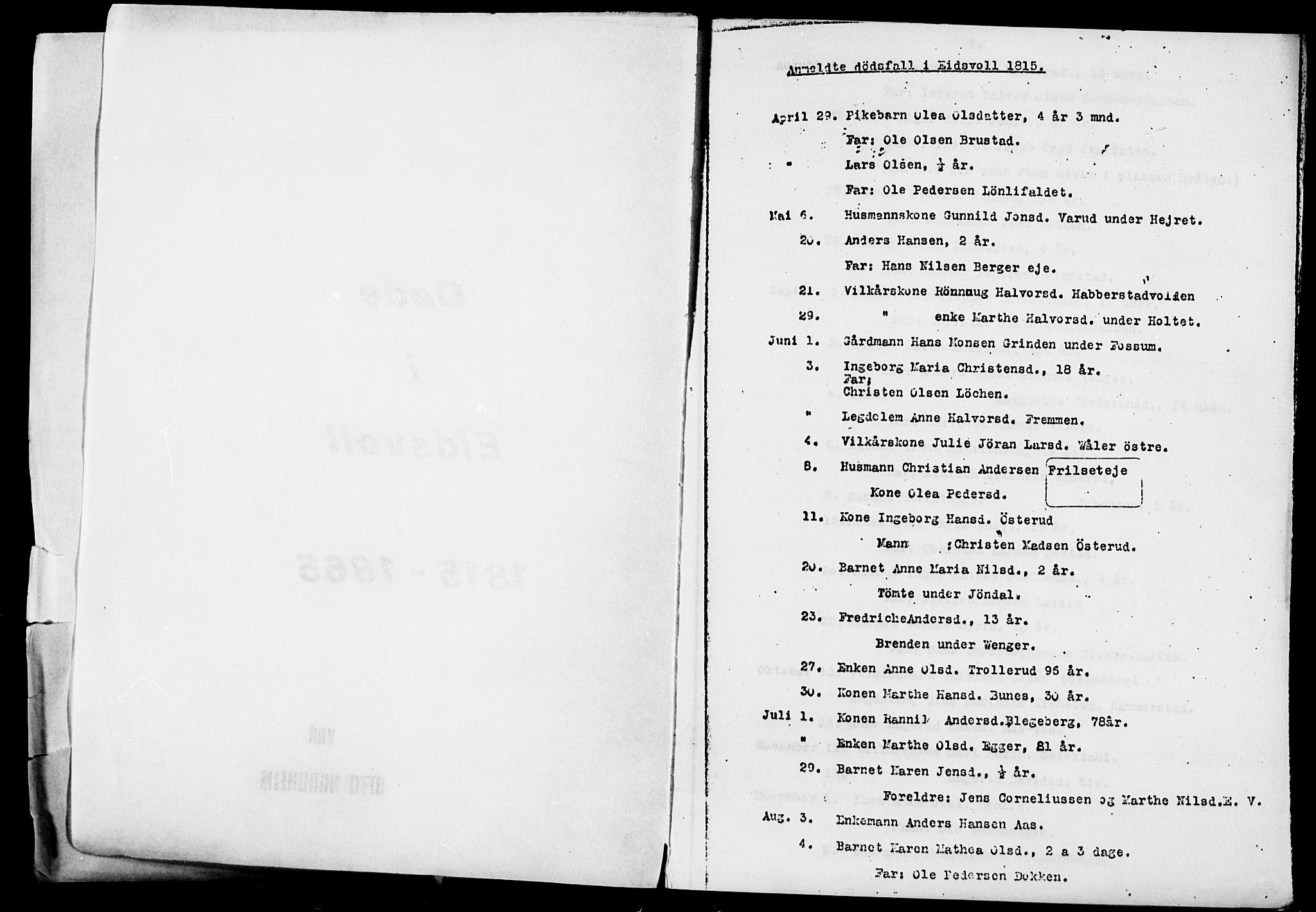 SAO, Eidsvoll prestekontor Kirkebøker, O/Oa/L0005: Annen kirkebok nr. 5, 1815-1865, s. 1
