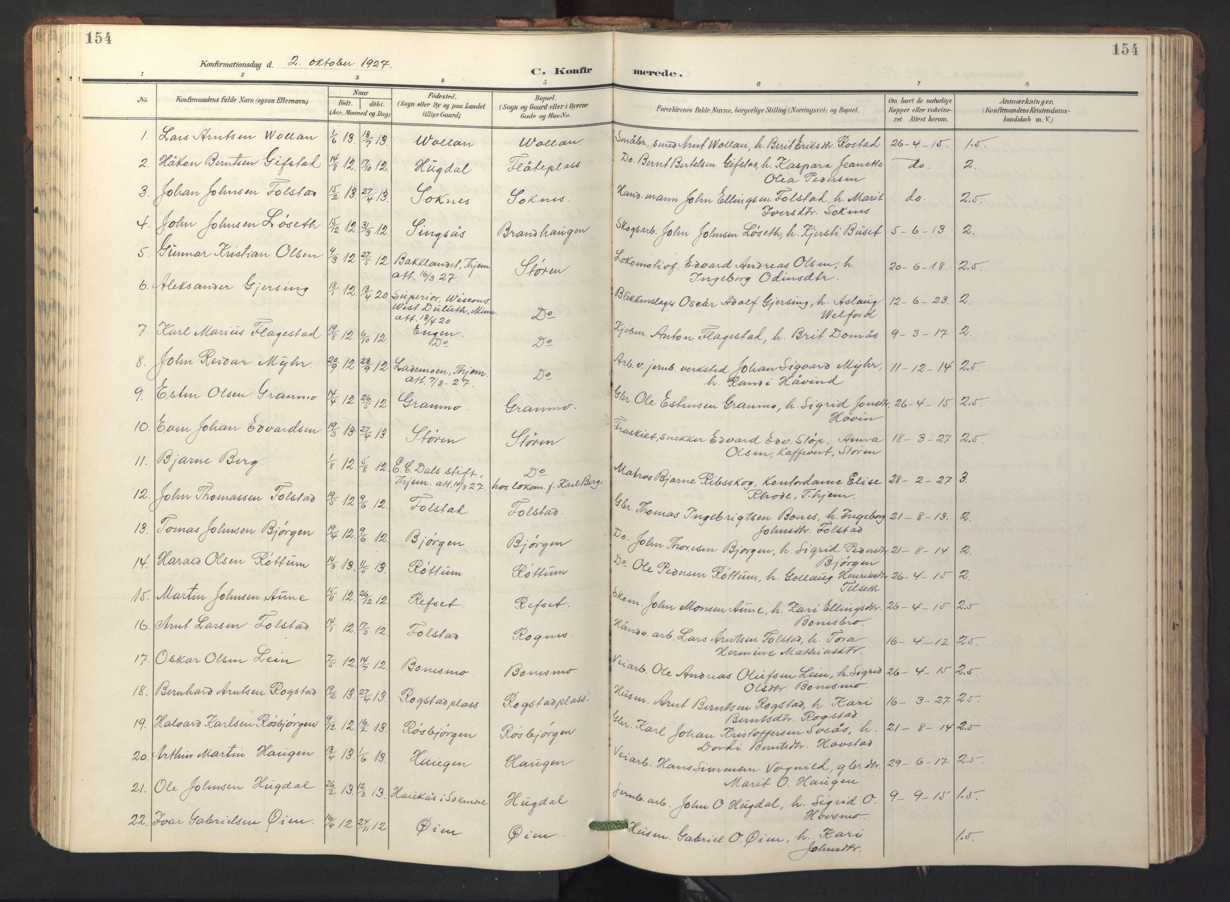 SAT, Ministerialprotokoller, klokkerbøker og fødselsregistre - Sør-Trøndelag, 687/L1019: Klokkerbok nr. 687C03, 1904-1931, s. 154