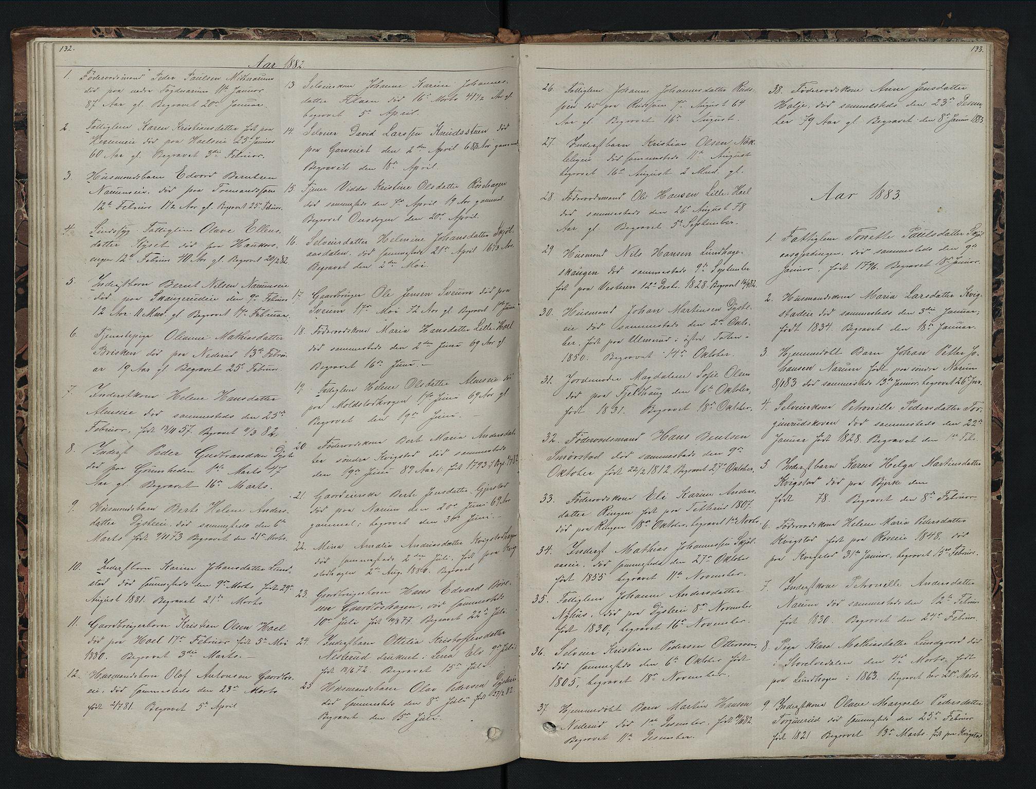 SAH, Vestre Toten prestekontor, H/Ha/Hab/L0007: Klokkerbok nr. 7, 1872-1900, s. 132-133
