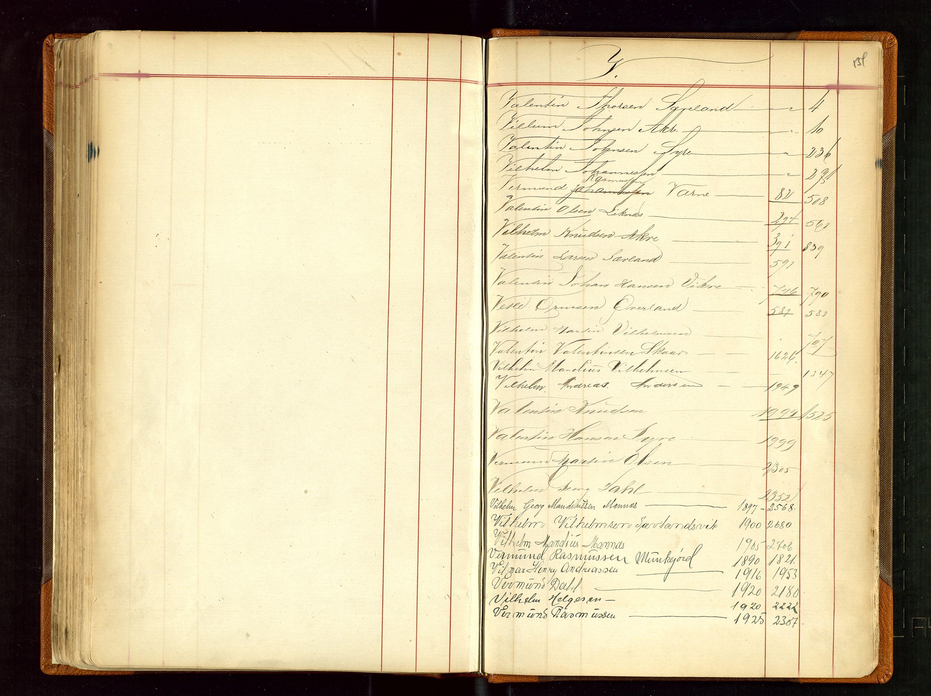 SAST, Haugesund sjømannskontor, F/Fb/Fba/L0001: Navneregister med henvisning til rullenr (Fornavn) Skudenes krets, 1860-1948, s. 134
