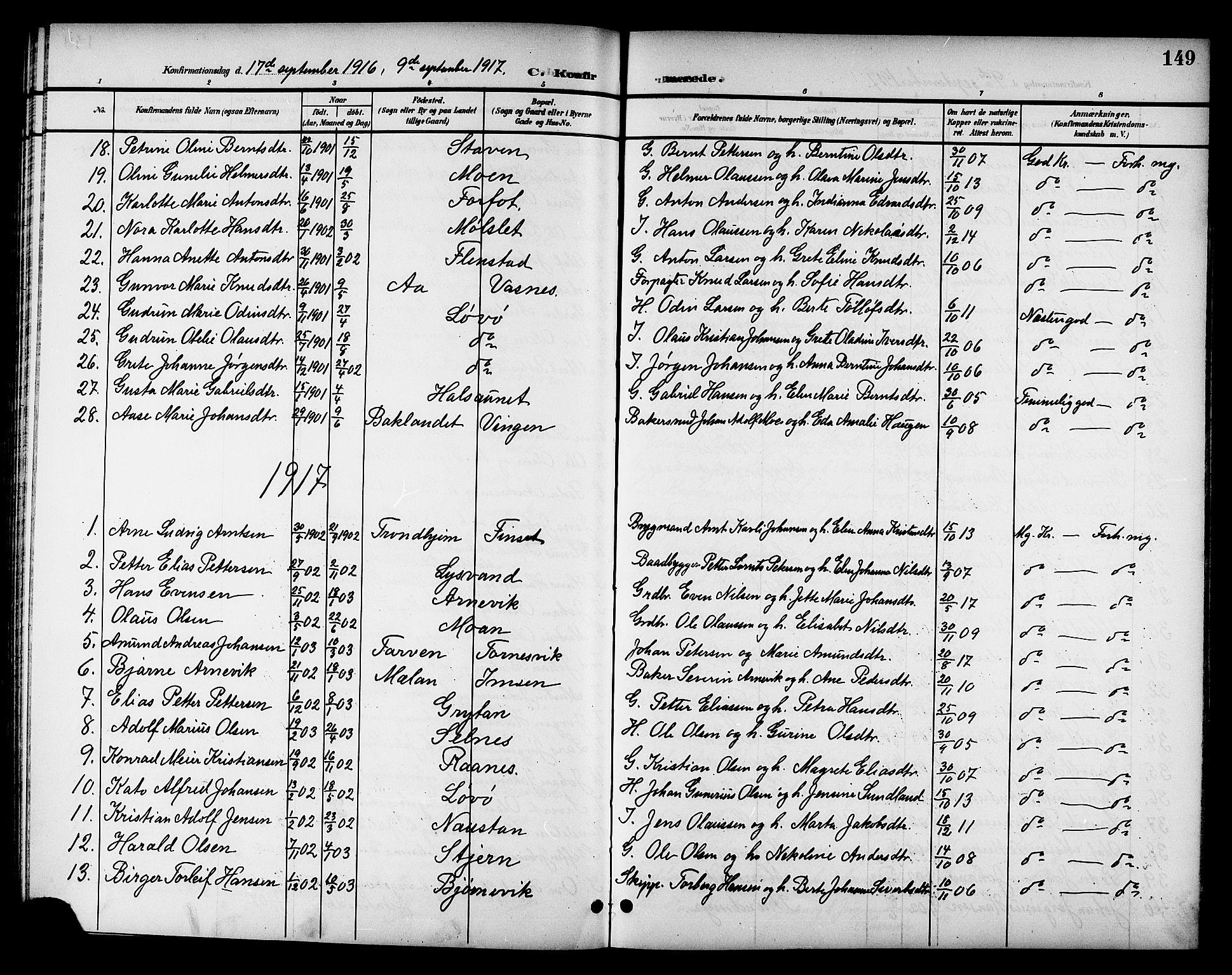 SAT, Ministerialprotokoller, klokkerbøker og fødselsregistre - Sør-Trøndelag, 655/L0688: Klokkerbok nr. 655C04, 1899-1922, s. 149