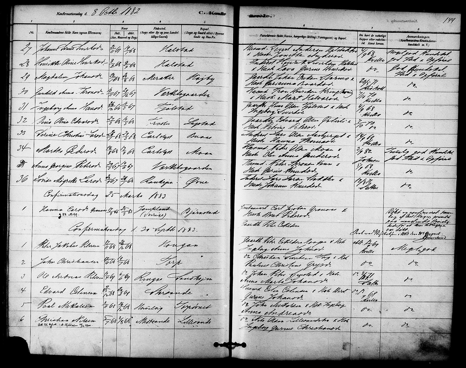 SAT, Ministerialprotokoller, klokkerbøker og fødselsregistre - Sør-Trøndelag, 616/L0410: Ministerialbok nr. 616A07, 1878-1893, s. 144