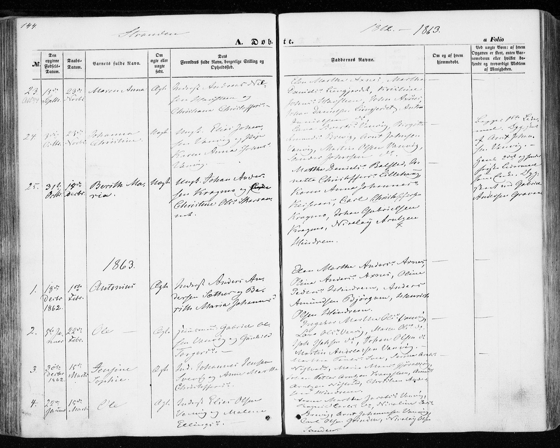 SAT, Ministerialprotokoller, klokkerbøker og fødselsregistre - Nord-Trøndelag, 701/L0008: Ministerialbok nr. 701A08 /2, 1854-1863, s. 144