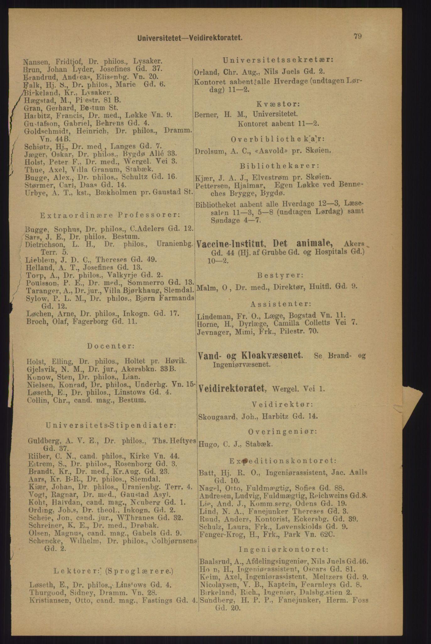 RA, Kristiania adressebok (publikasjon)*, 1905, s. 79