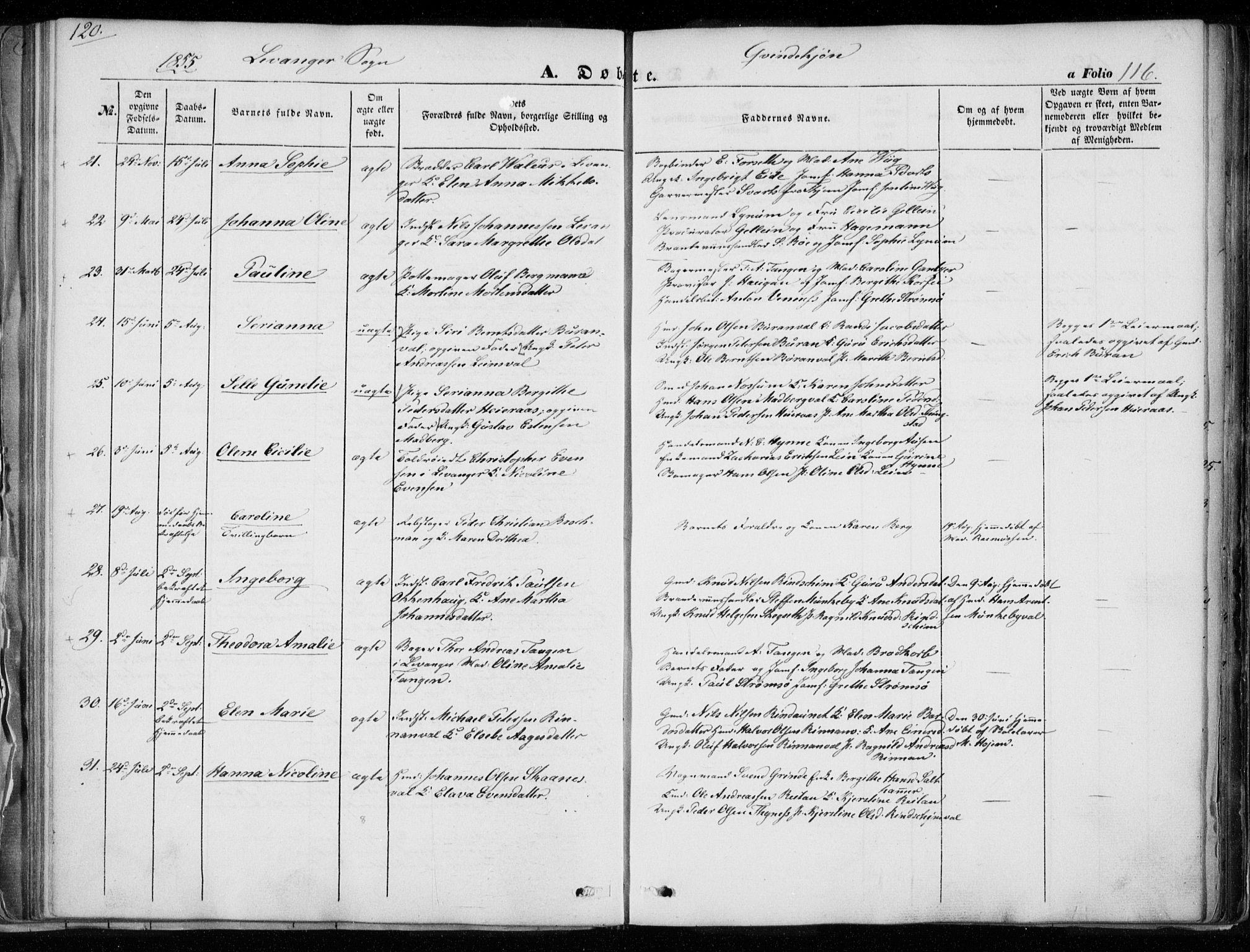 SAT, Ministerialprotokoller, klokkerbøker og fødselsregistre - Nord-Trøndelag, 720/L0183: Ministerialbok nr. 720A01, 1836-1855, s. 116