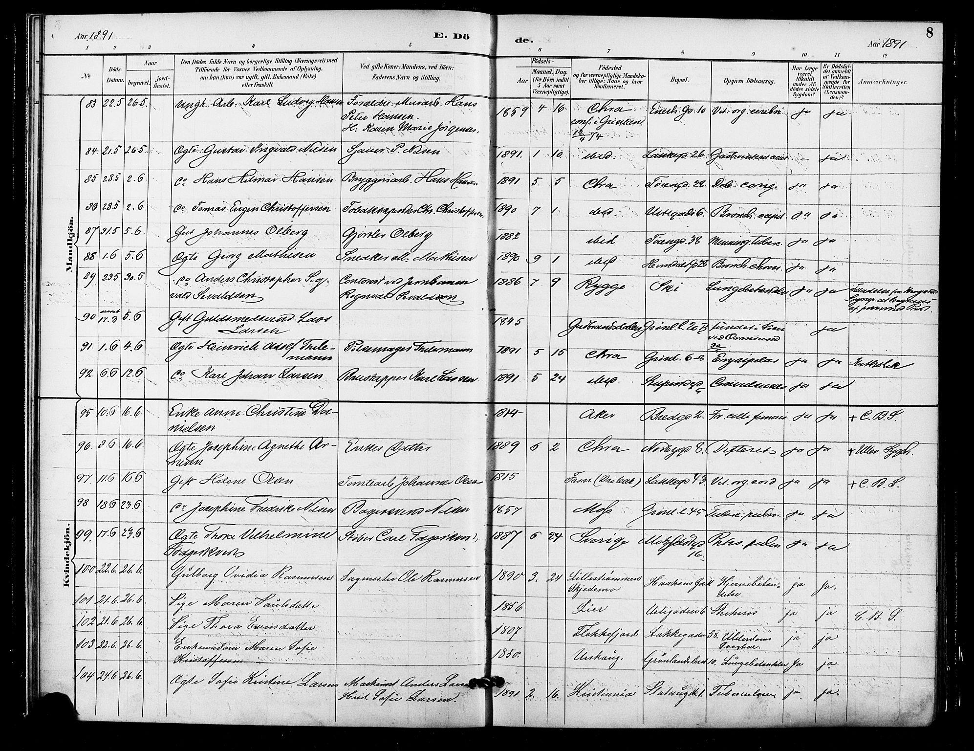 SAO, Grønland prestekontor Kirkebøker, F/Fa/L0010: Ministerialbok nr. 10, 1891-1898, s. 8