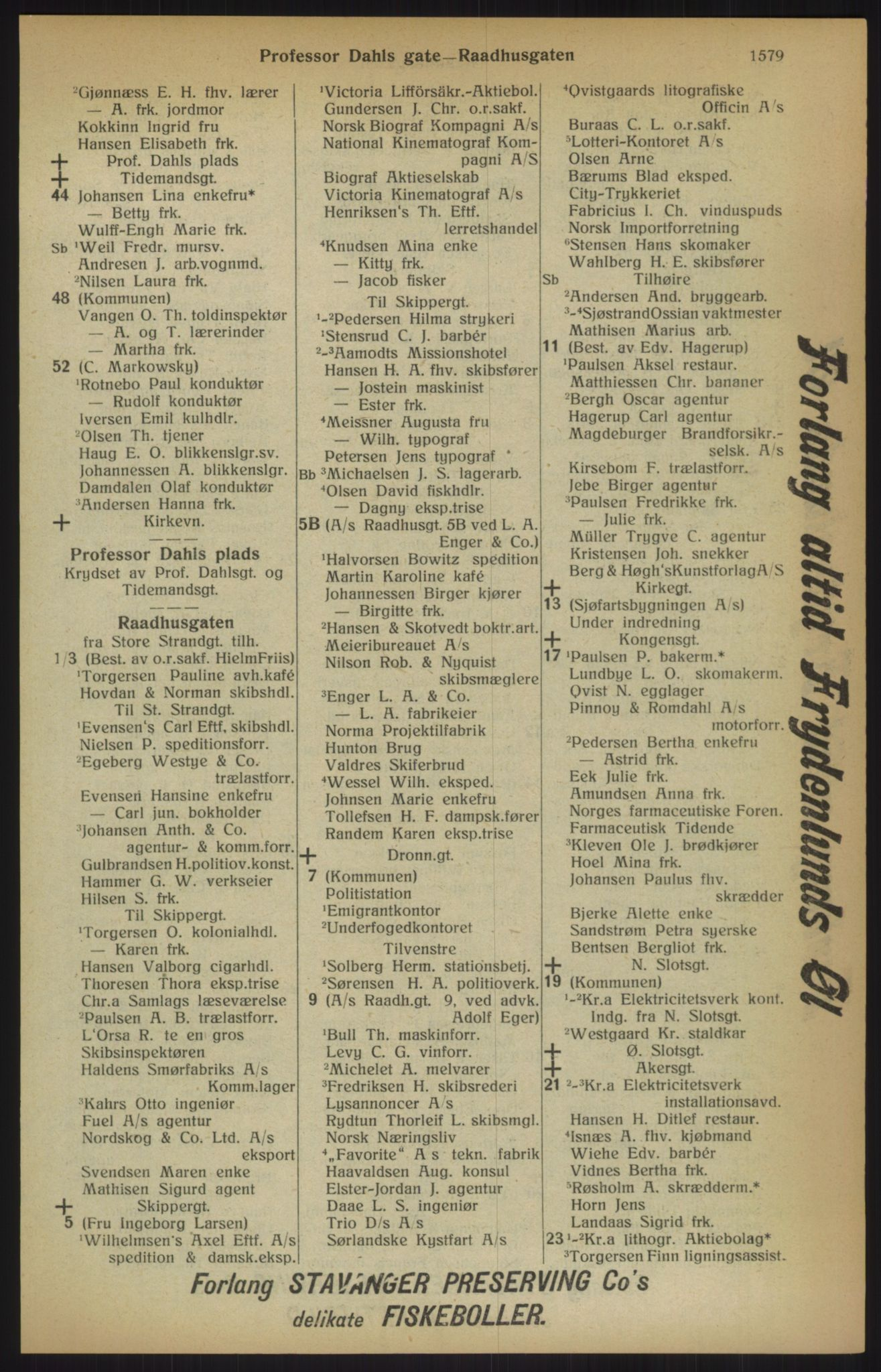 RA, Kristiania adressebok (publikasjon)*, 1915, s. 1579