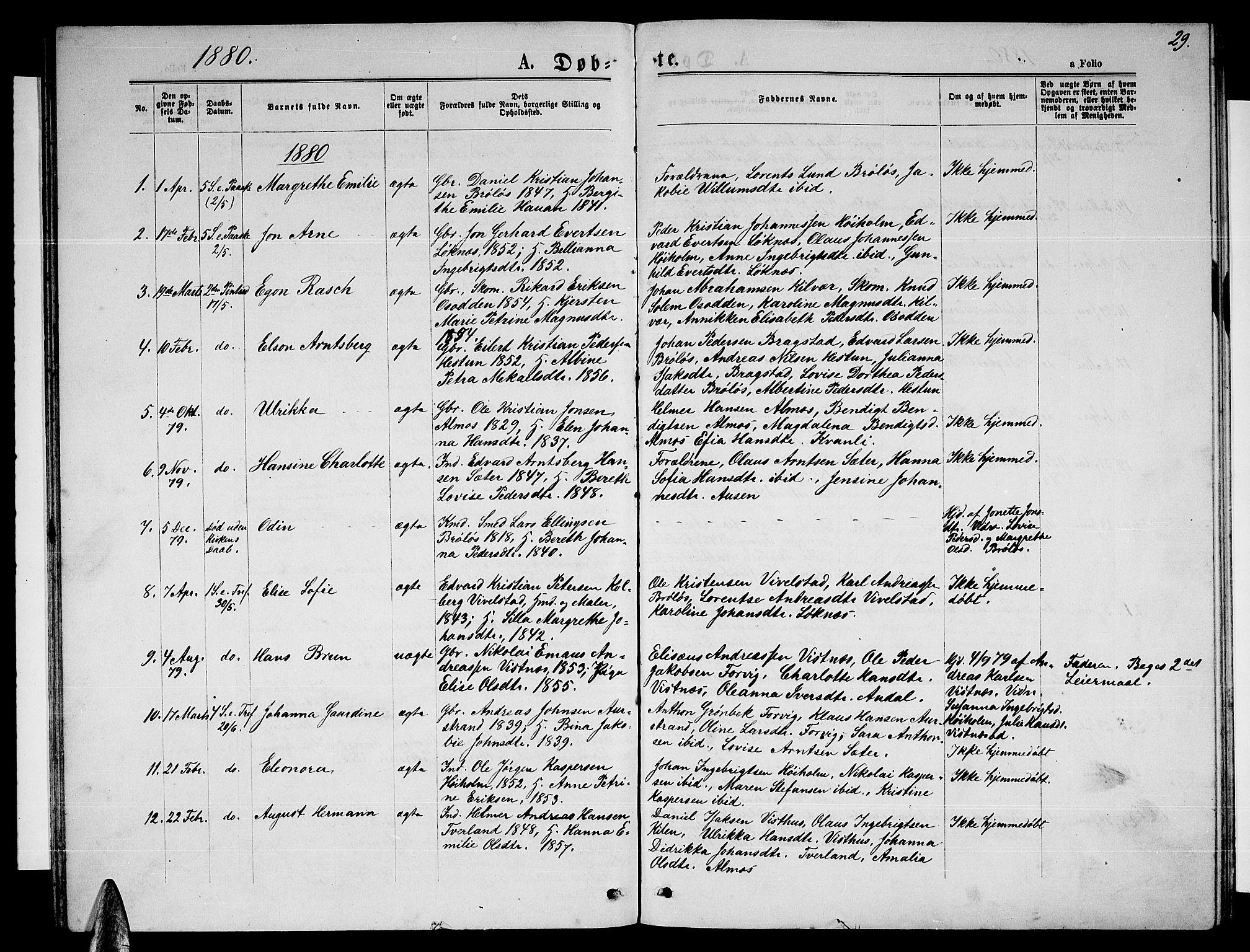 SAT, Ministerialprotokoller, klokkerbøker og fødselsregistre - Nordland, 819/L0276: Klokkerbok nr. 819C02, 1869-1887, s. 29