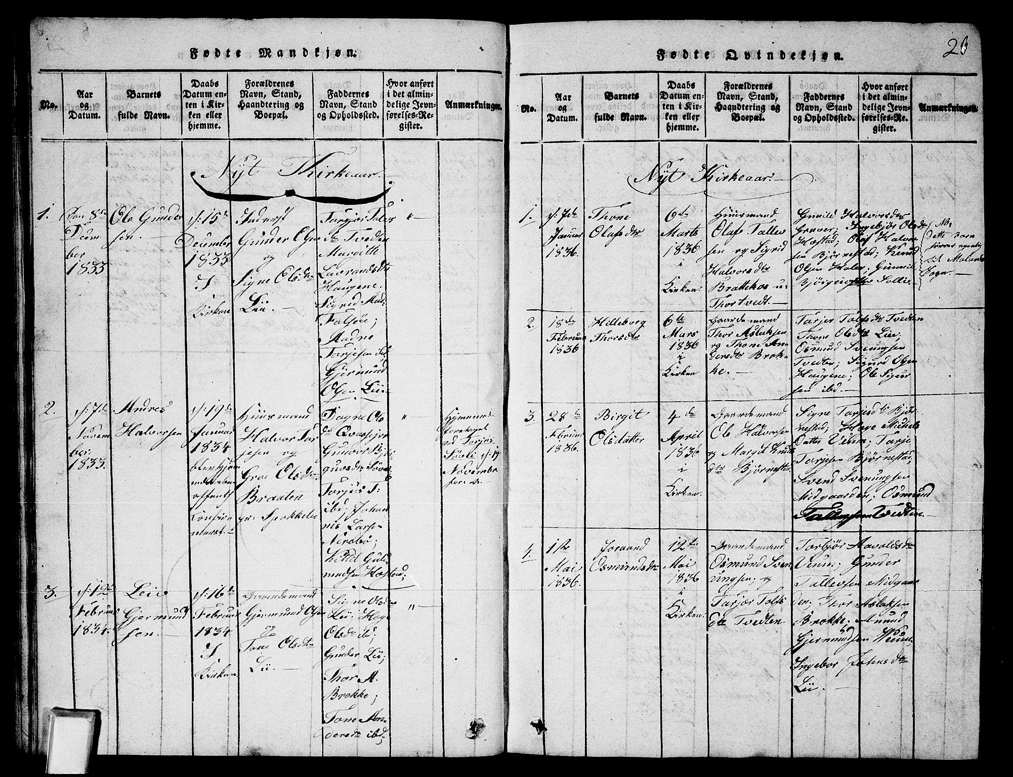 SAKO, Fyresdal kirkebøker, G/Ga/L0003: Klokkerbok nr. I 3, 1815-1863, s. 26
