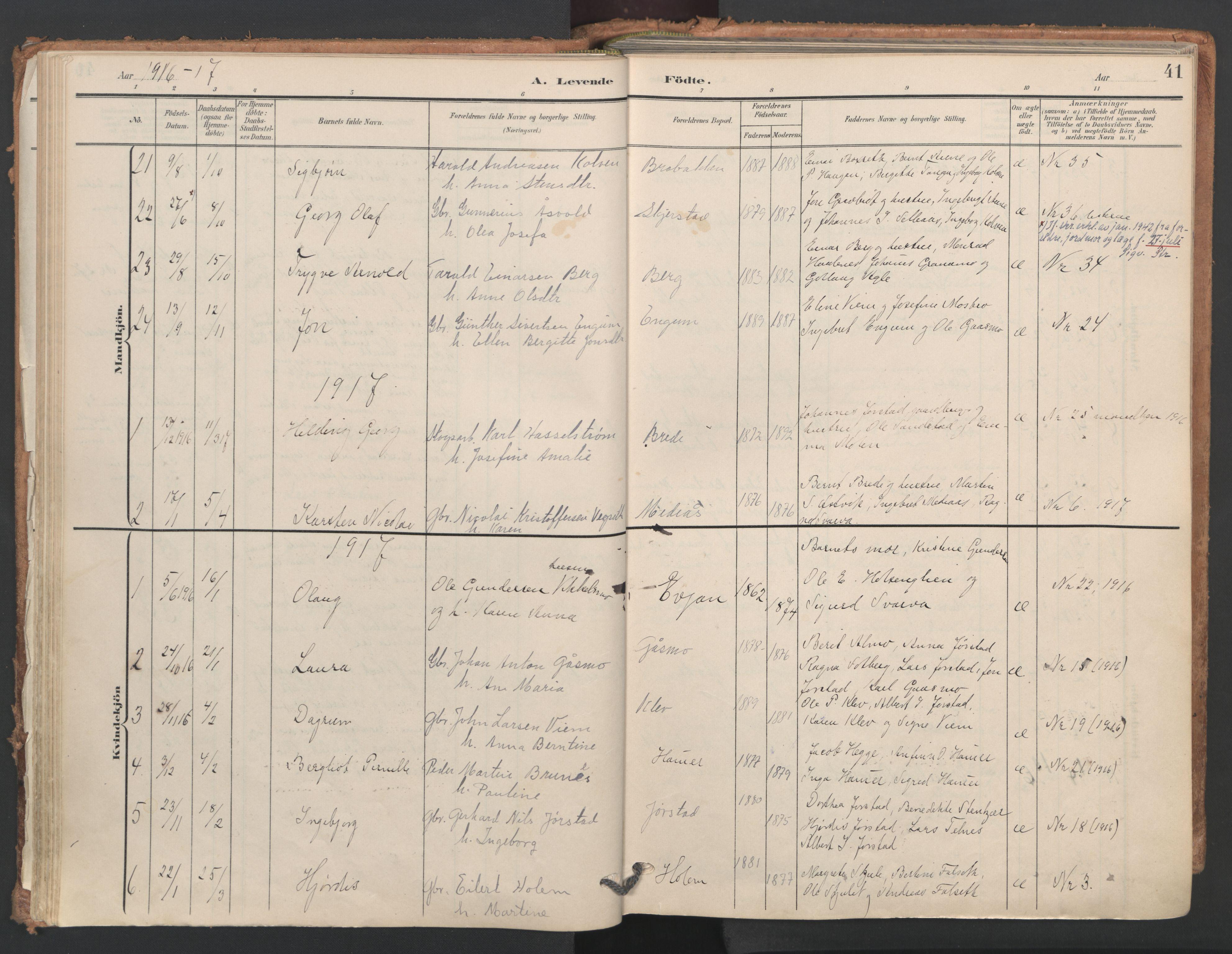 SAT, Ministerialprotokoller, klokkerbøker og fødselsregistre - Nord-Trøndelag, 749/L0477: Ministerialbok nr. 749A11, 1902-1927, s. 41