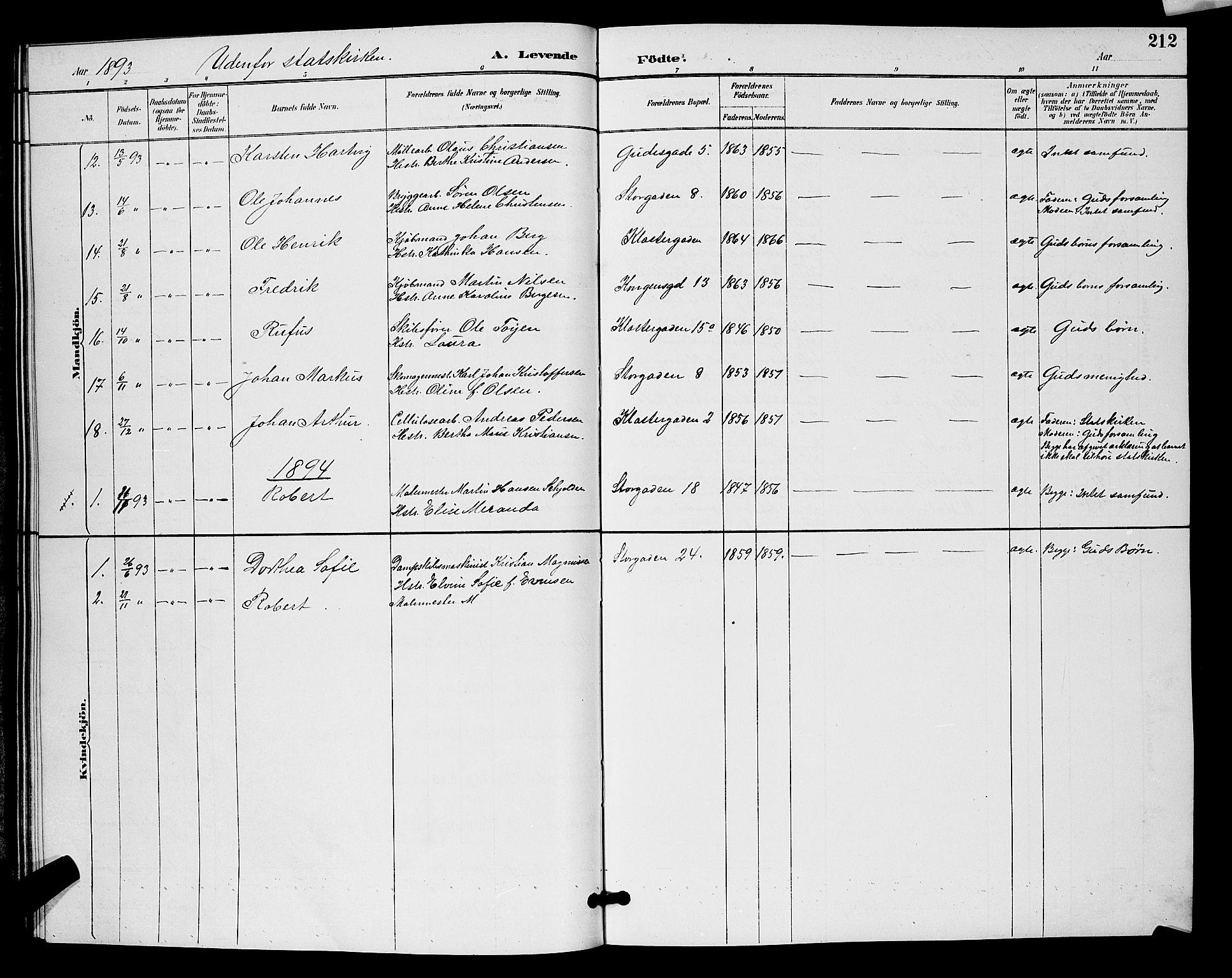 SAO, Moss prestekontor Kirkebøker, G/Ga/L0006: Klokkerbok nr. I 6, 1889-1900, s. 212
