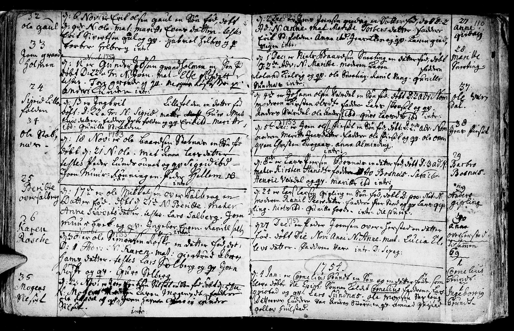 SAT, Ministerialprotokoller, klokkerbøker og fødselsregistre - Nord-Trøndelag, 730/L0272: Ministerialbok nr. 730A01, 1733-1764, s. 110