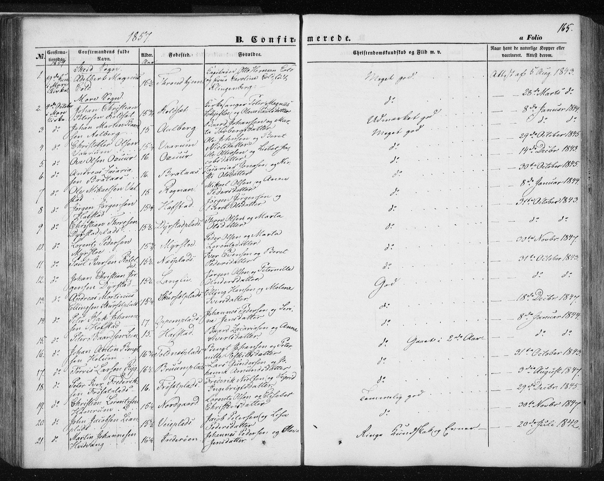 SAT, Ministerialprotokoller, klokkerbøker og fødselsregistre - Nord-Trøndelag, 735/L0342: Ministerialbok nr. 735A07 /1, 1849-1862, s. 165