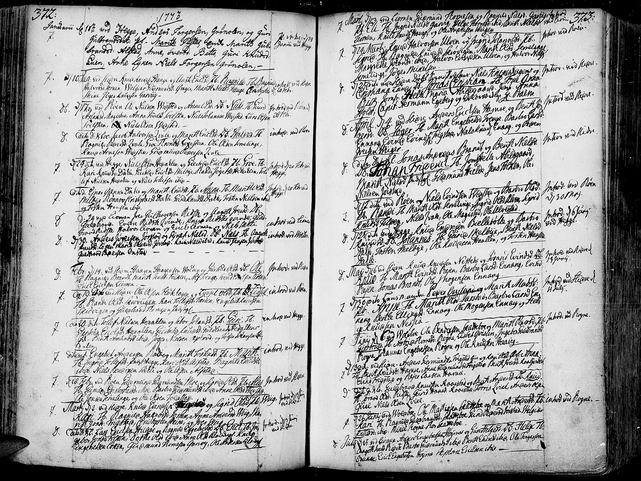 SAH, Slidre prestekontor, Ministerialbok nr. 1, 1724-1814, s. 372-373