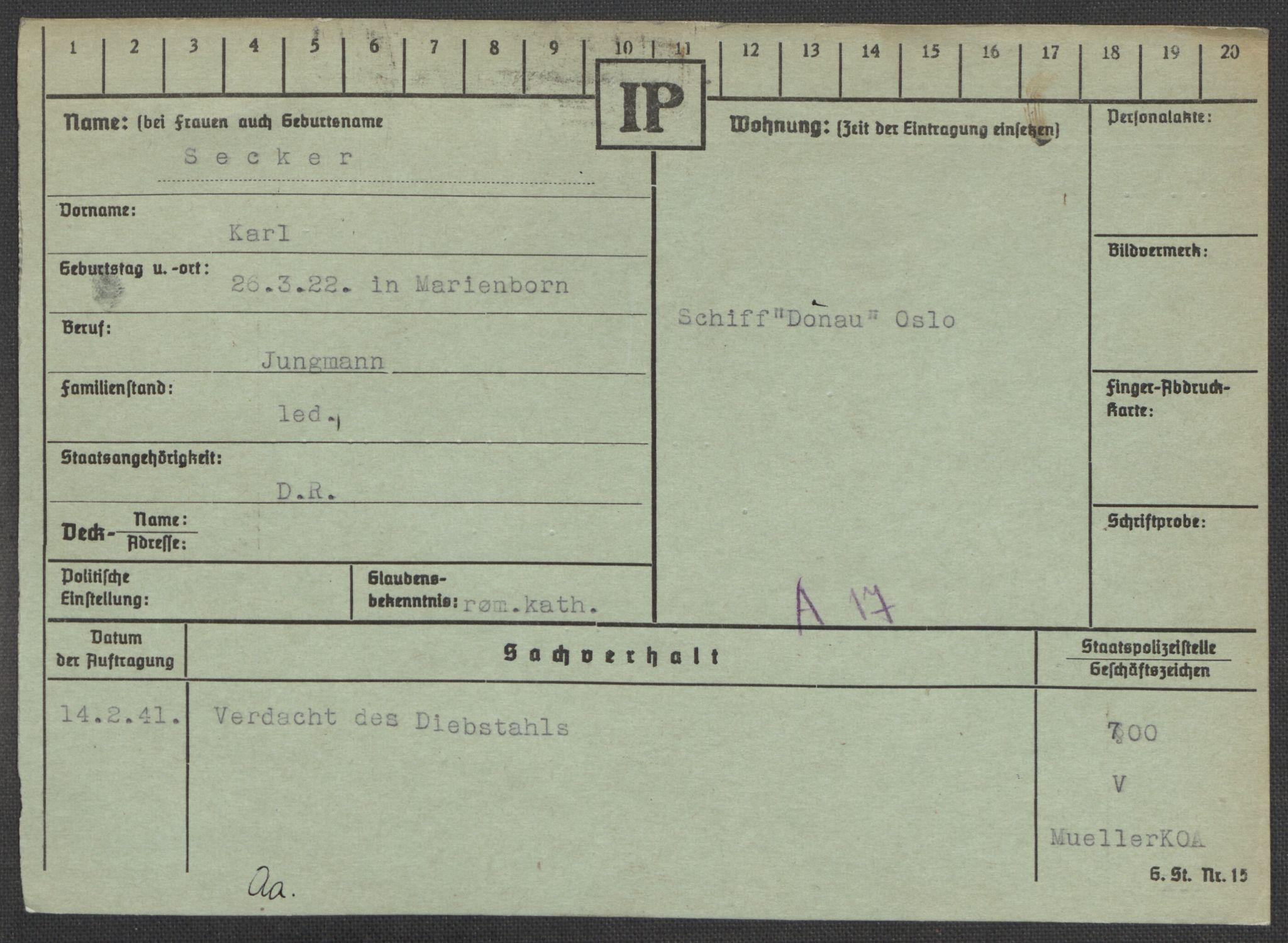 RA, Befehlshaber der Sicherheitspolizei und des SD, E/Ea/Eaa/L0009: Register over norske fanger i Møllergata 19: Ru-Sy, 1940-1945, s. 564