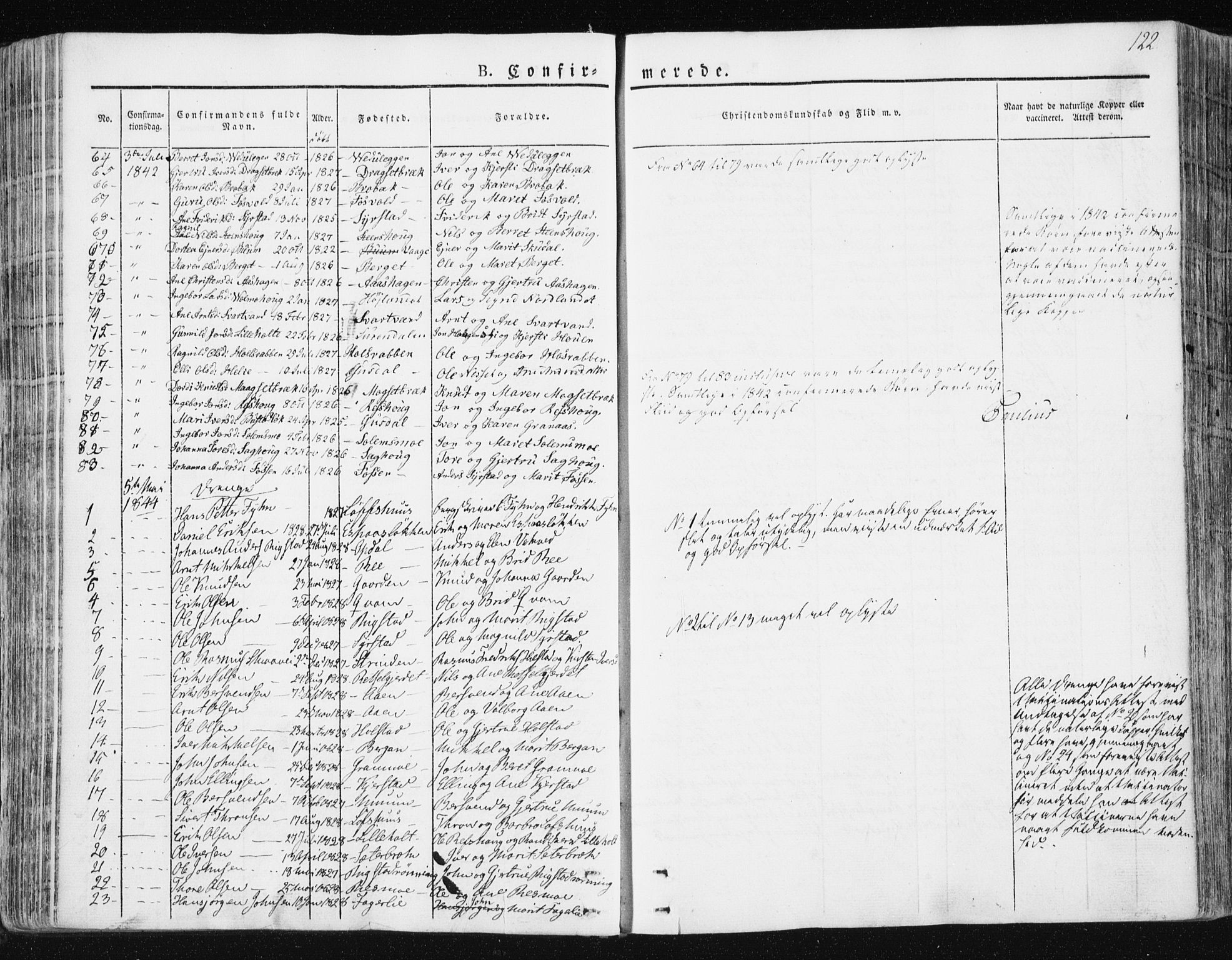 SAT, Ministerialprotokoller, klokkerbøker og fødselsregistre - Sør-Trøndelag, 672/L0855: Ministerialbok nr. 672A07, 1829-1860, s. 122