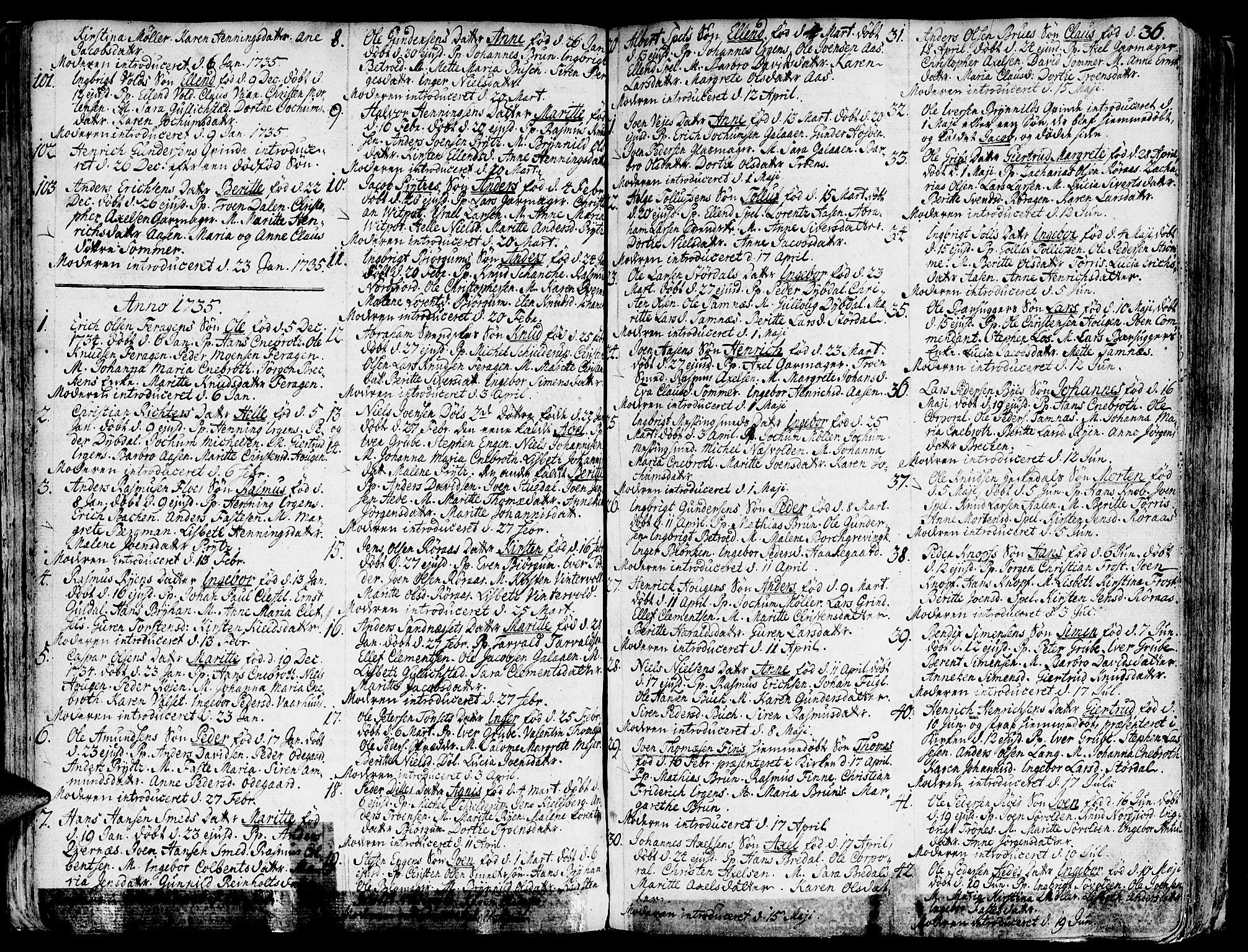 SAT, Ministerialprotokoller, klokkerbøker og fødselsregistre - Sør-Trøndelag, 681/L0925: Ministerialbok nr. 681A03, 1727-1766, s. 36