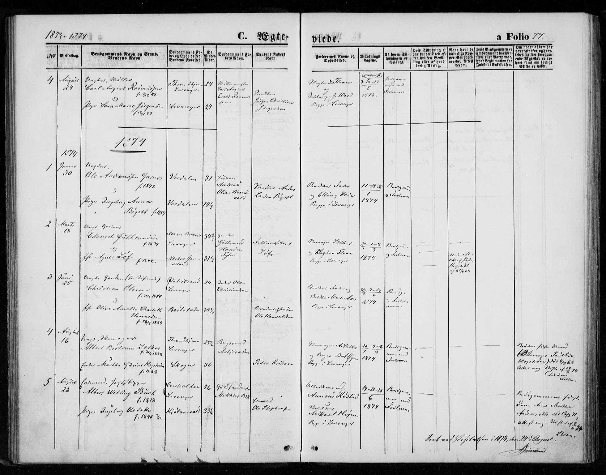 SAT, Ministerialprotokoller, klokkerbøker og fødselsregistre - Nord-Trøndelag, 720/L0186: Ministerialbok nr. 720A03, 1864-1874, s. 77