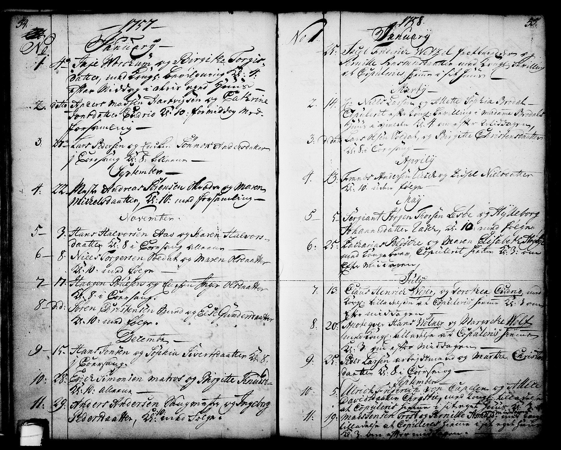 SAKO, Skien kirkebøker, F/Fa/L0003: Ministerialbok nr. 3, 1755-1791, s. 54-55