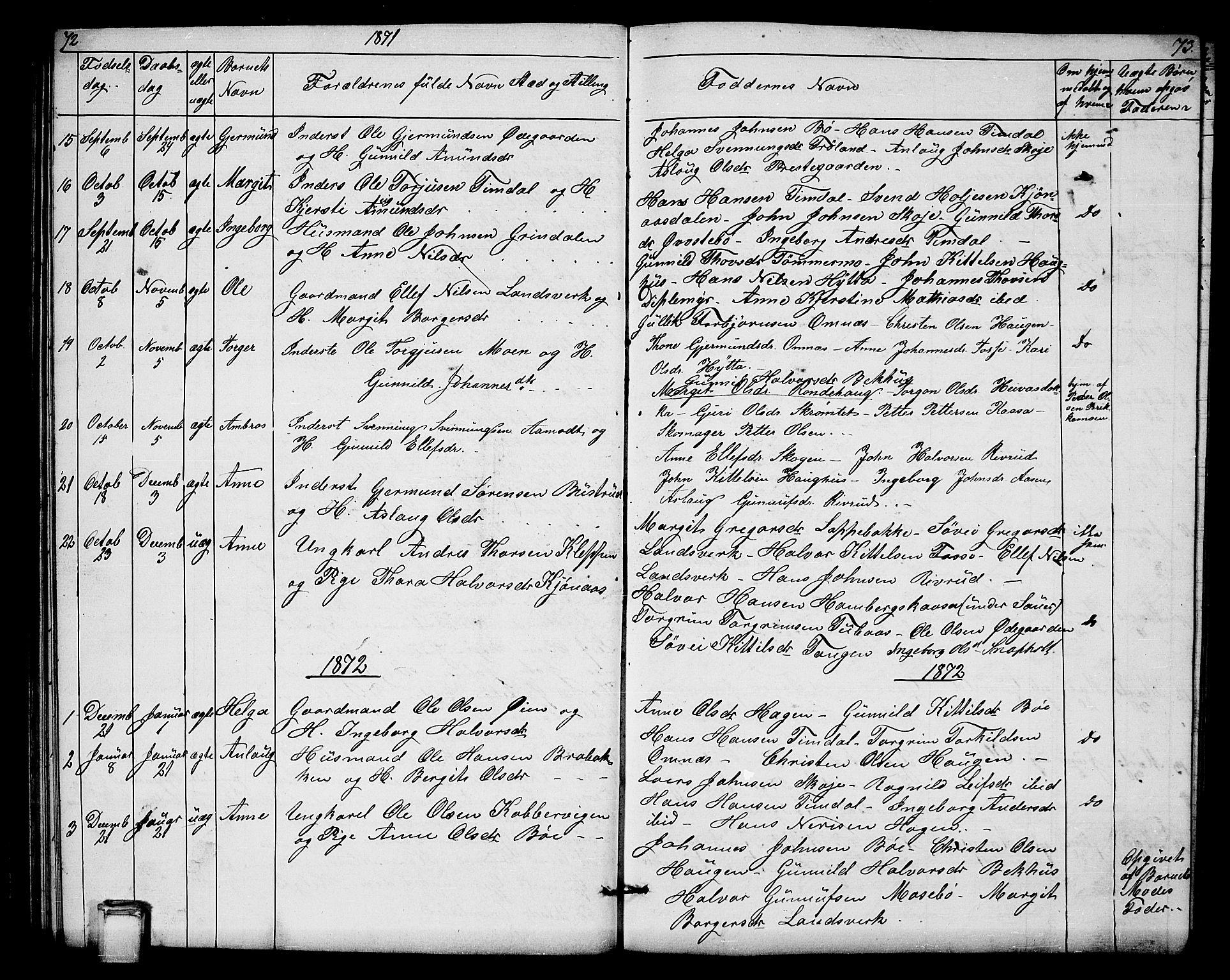 SAKO, Hjartdal kirkebøker, G/Gb/L0002: Klokkerbok nr. II 2, 1854-1884, s. 72-73