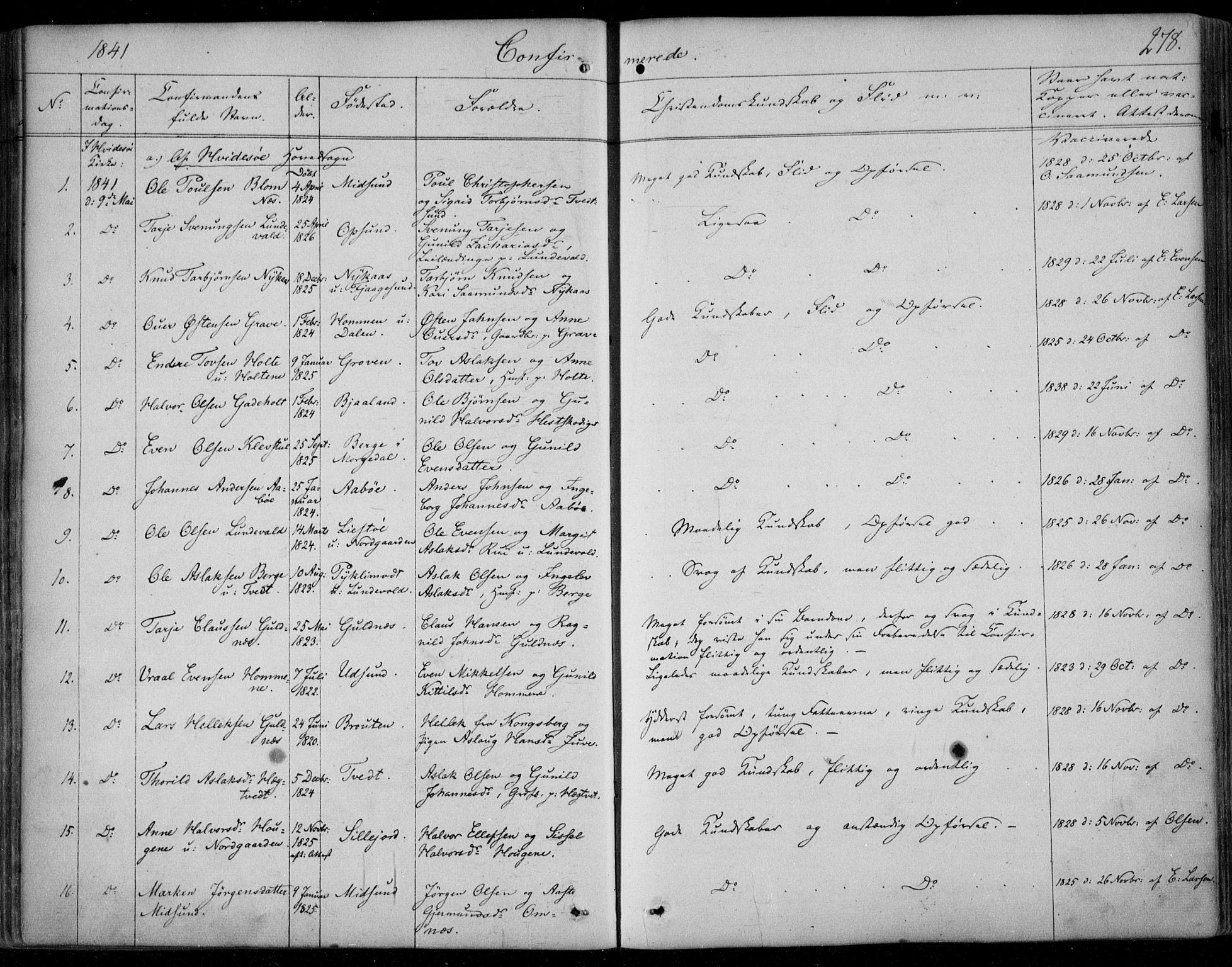 SAKO, Kviteseid kirkebøker, F/Fa/L0006: Ministerialbok nr. I 6, 1836-1858, s. 278