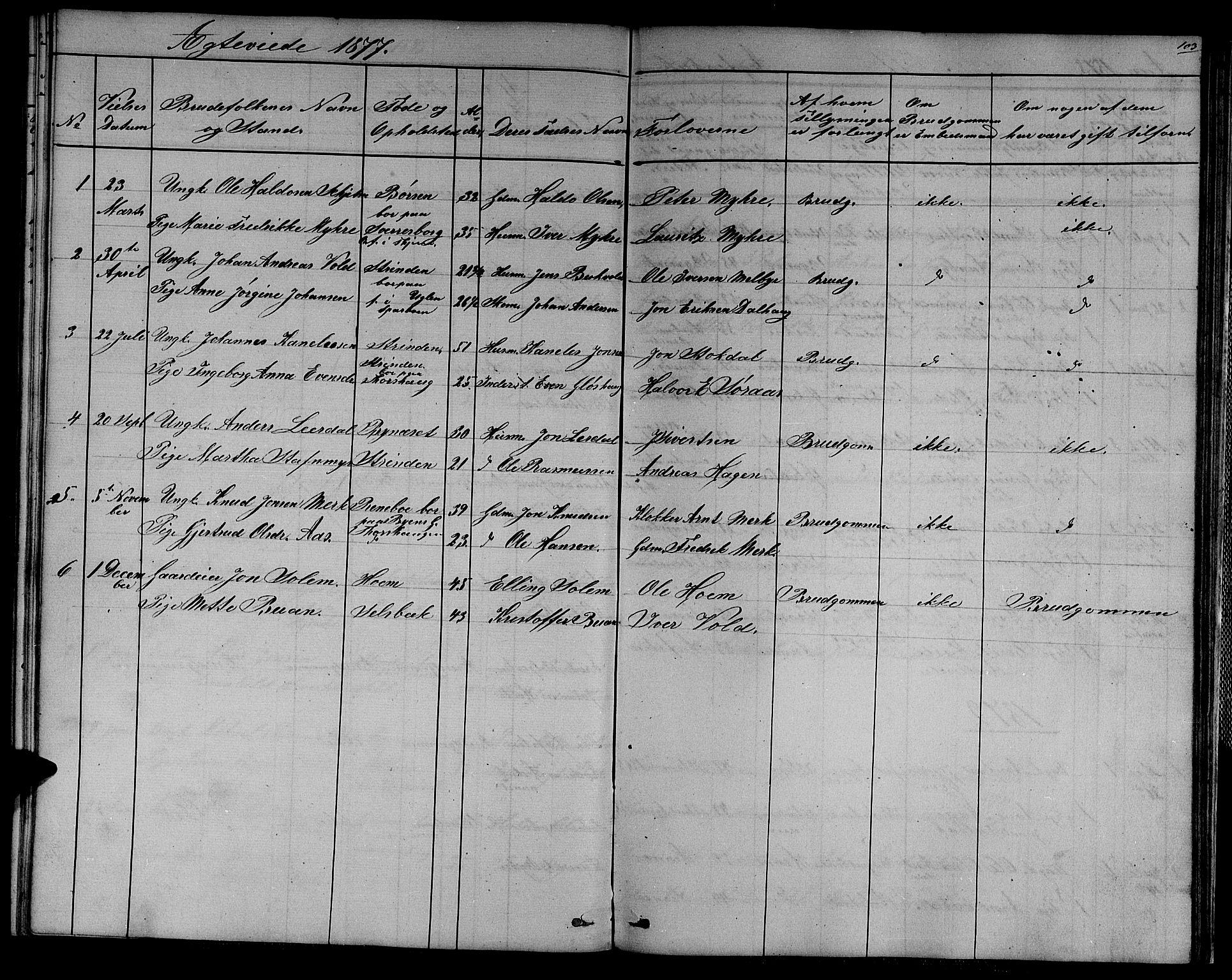 SAT, Ministerialprotokoller, klokkerbøker og fødselsregistre - Sør-Trøndelag, 611/L0353: Klokkerbok nr. 611C01, 1854-1881, s. 103
