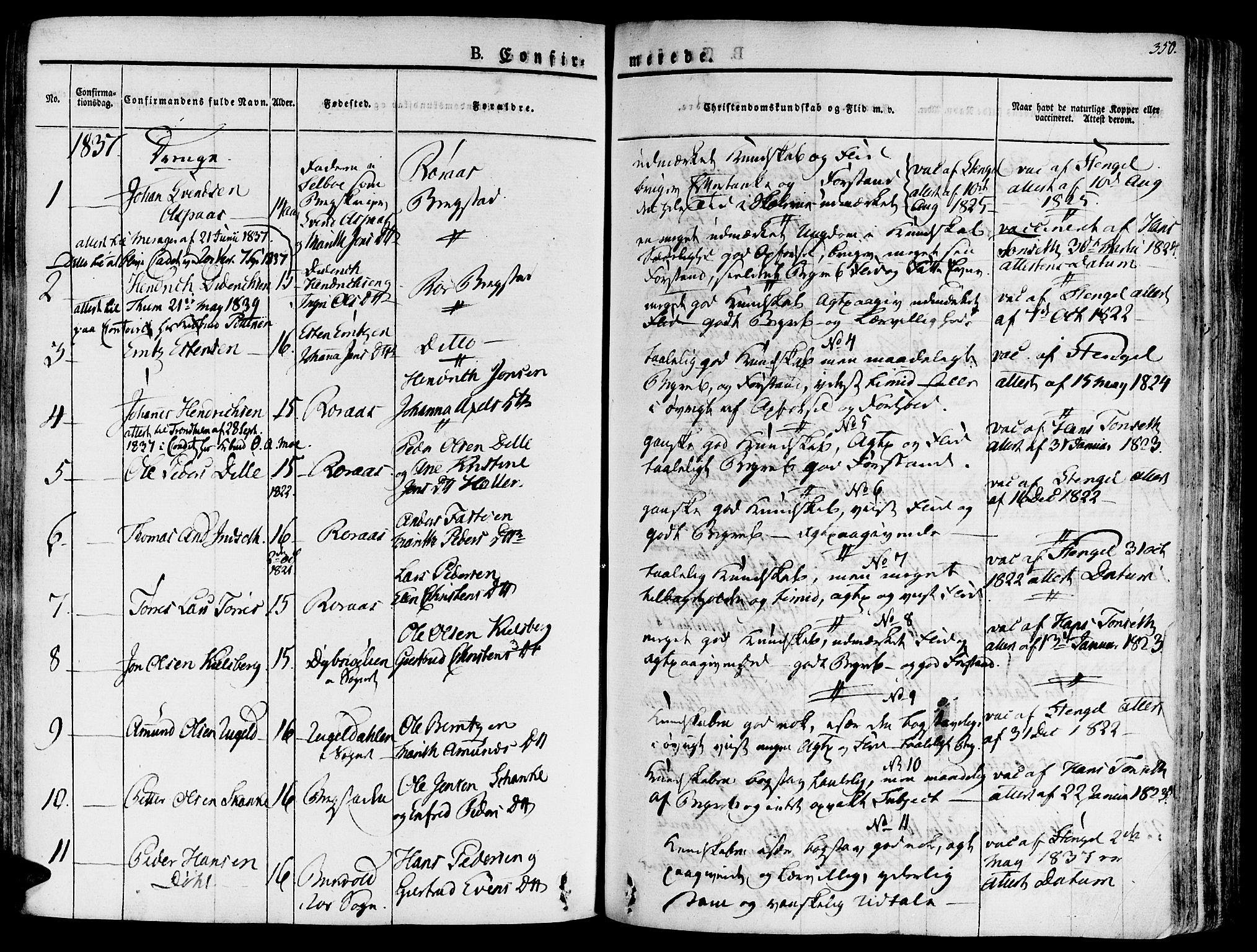 SAT, Ministerialprotokoller, klokkerbøker og fødselsregistre - Sør-Trøndelag, 681/L0930: Ministerialbok nr. 681A08, 1829-1844, s. 350