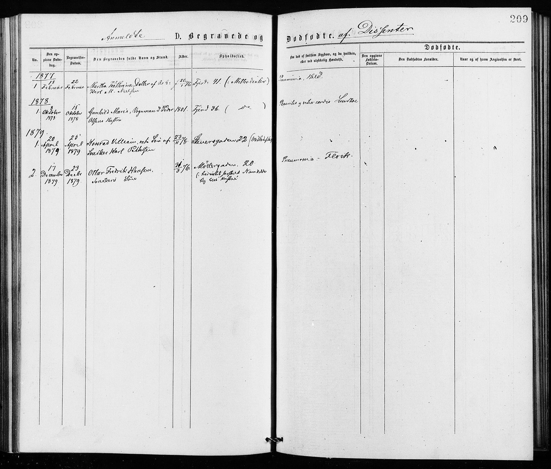 SAO, Jakob prestekontor Kirkebøker, F/Fa/L0002: Ministerialbok nr. 2, 1875-1879, s. 209