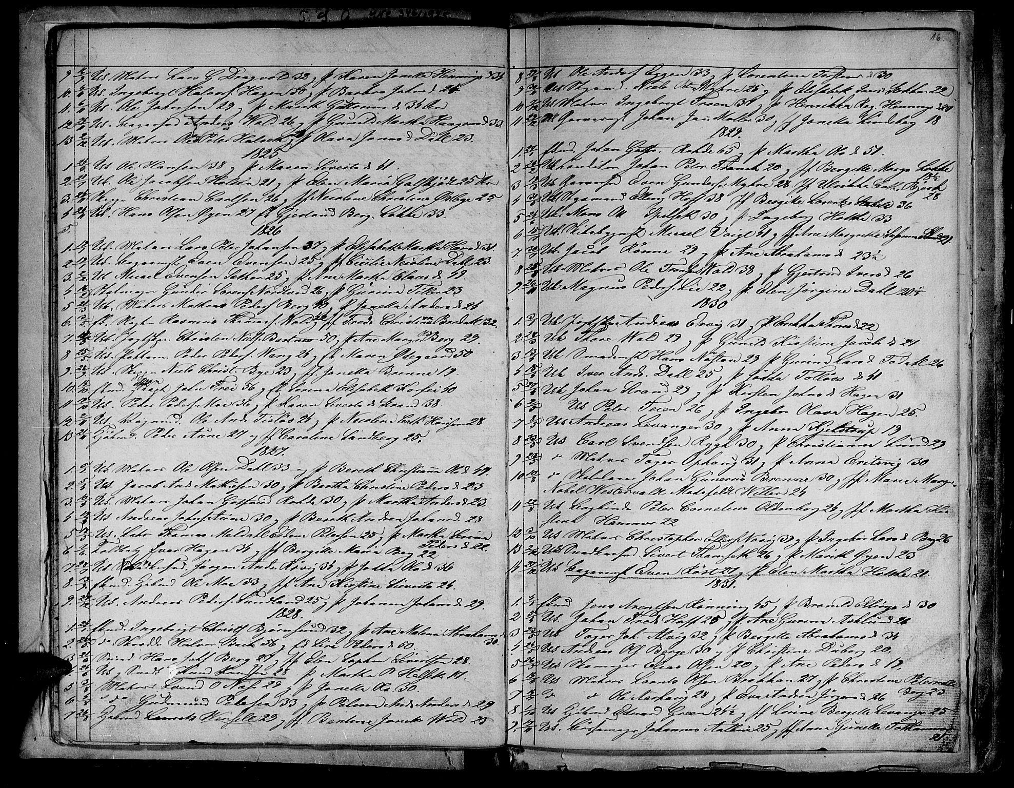 SAT, Ministerialprotokoller, klokkerbøker og fødselsregistre - Sør-Trøndelag, 604/L0182: Ministerialbok nr. 604A03, 1818-1850, s. 16