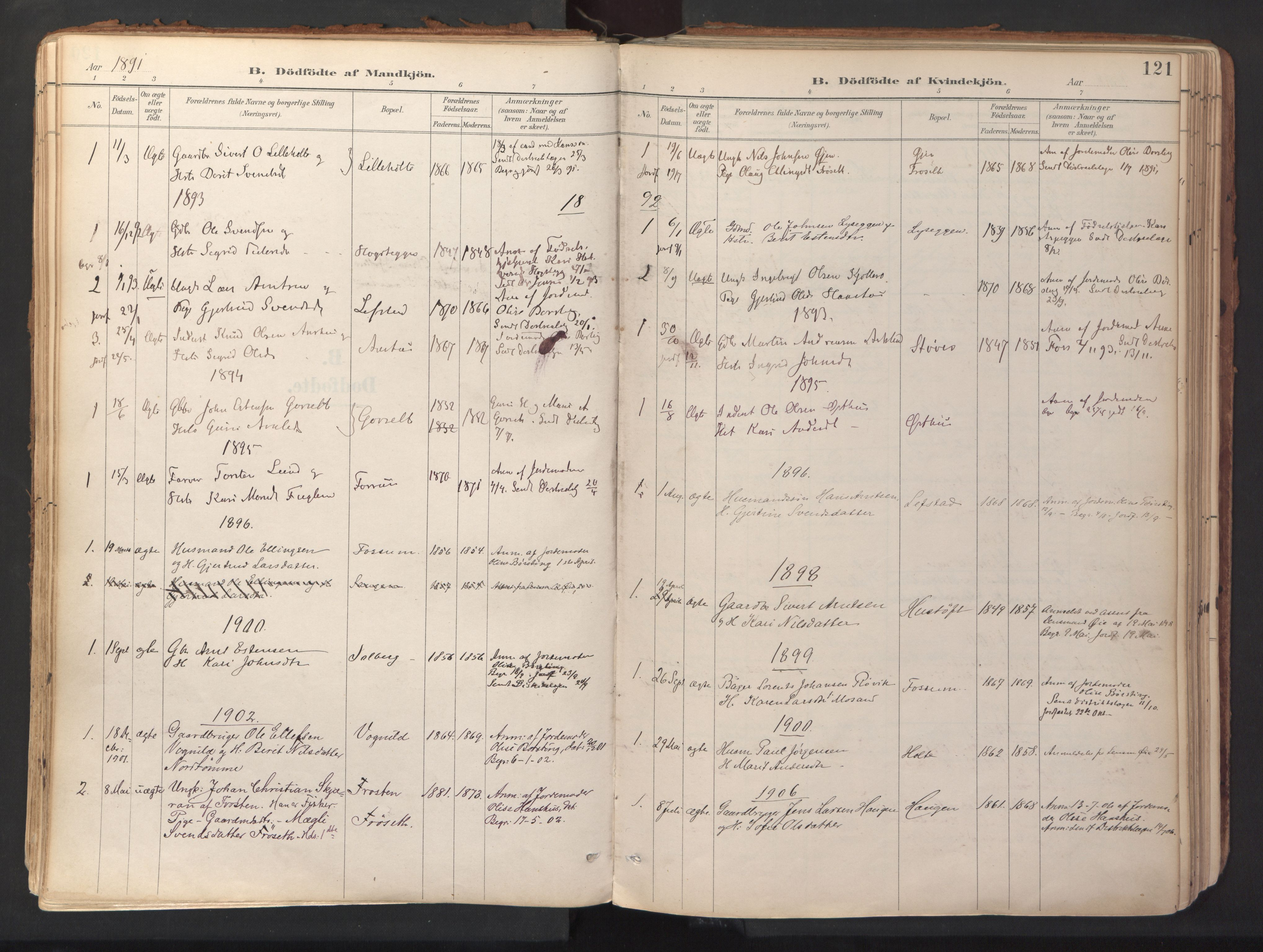 SAT, Ministerialprotokoller, klokkerbøker og fødselsregistre - Sør-Trøndelag, 689/L1041: Ministerialbok nr. 689A06, 1891-1923, s. 121