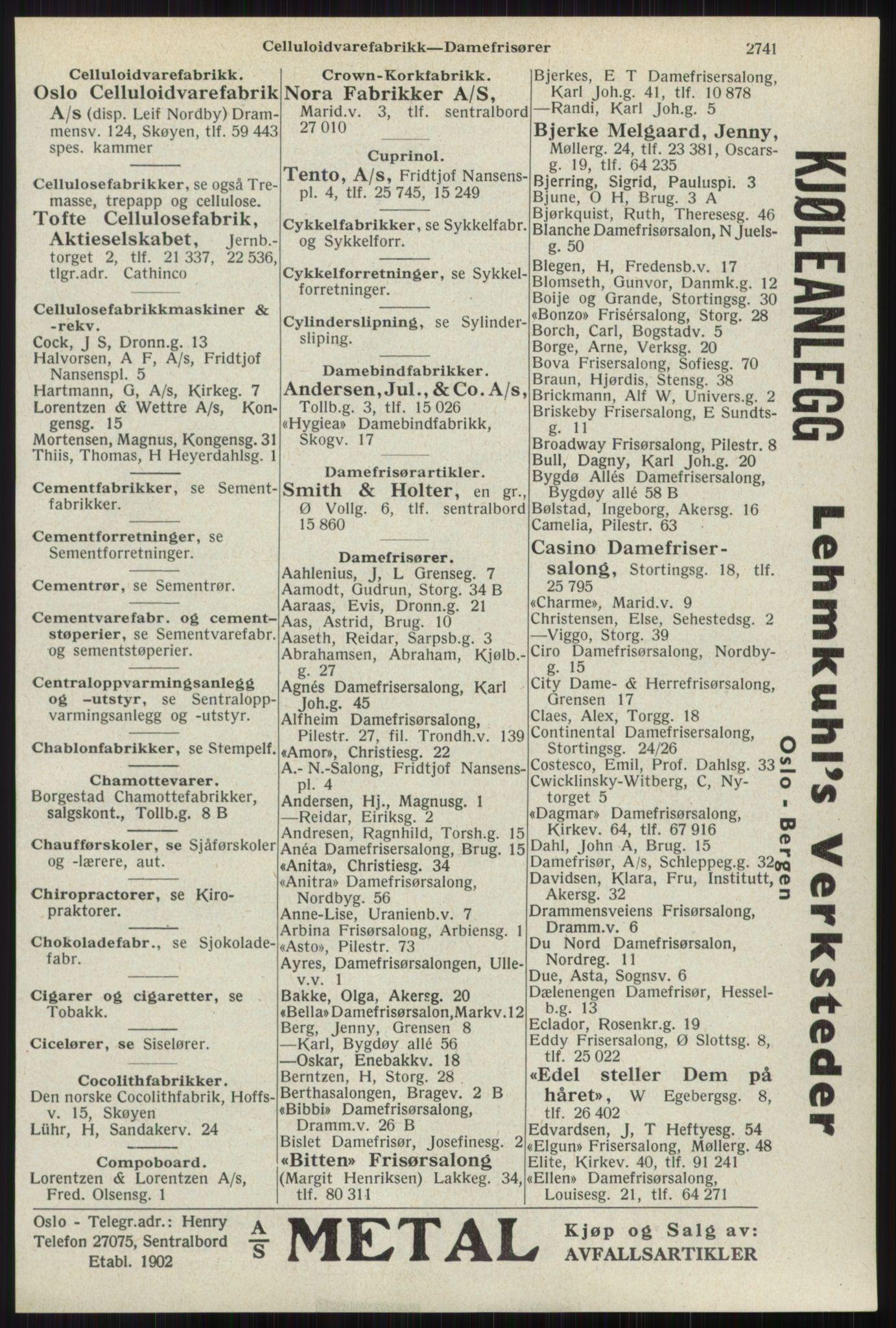 RA, Oslo adressebok (publikasjon)*, 1941, s. 2741