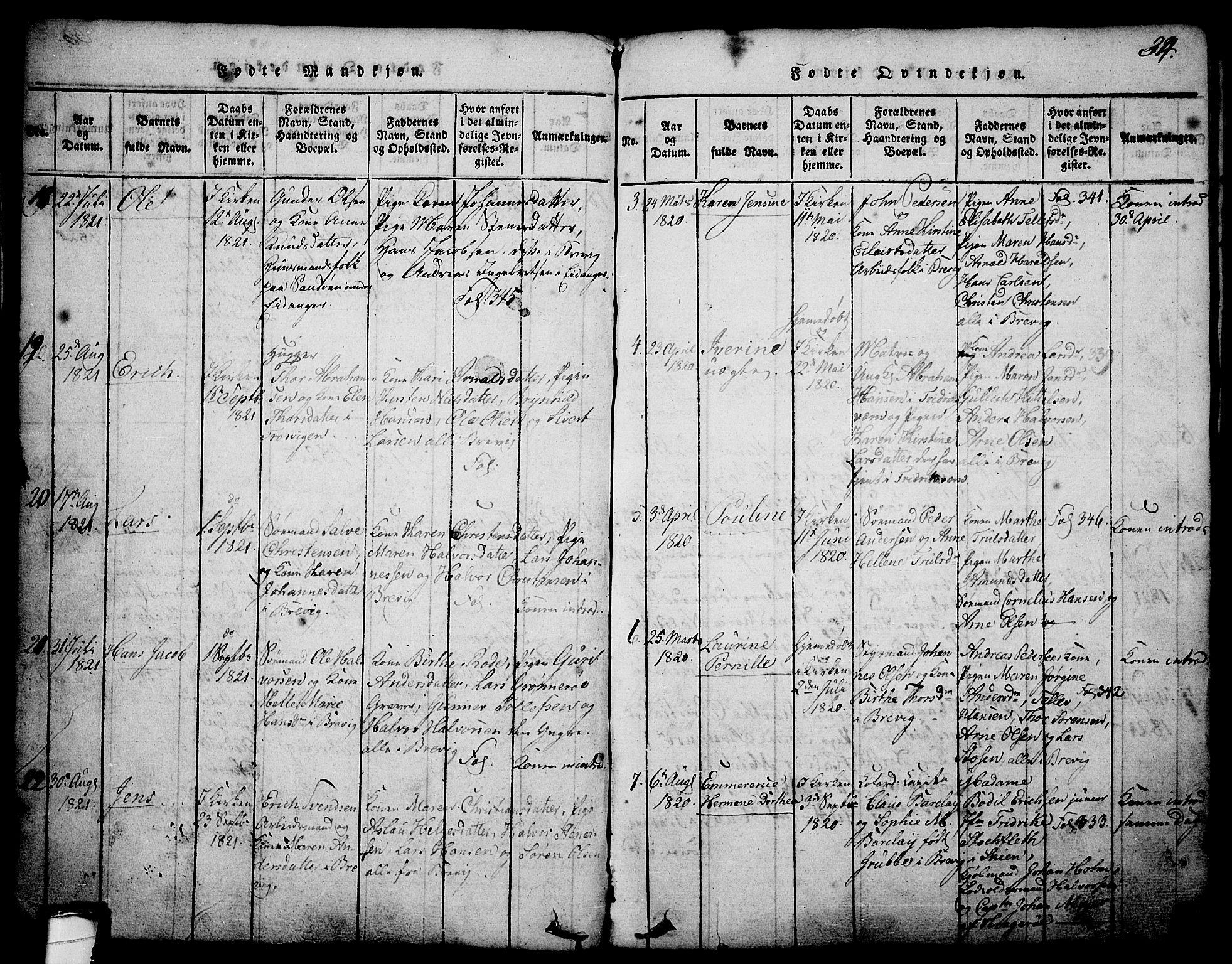 SAKO, Brevik kirkebøker, G/Ga/L0001: Klokkerbok nr. 1, 1814-1845, s. 34