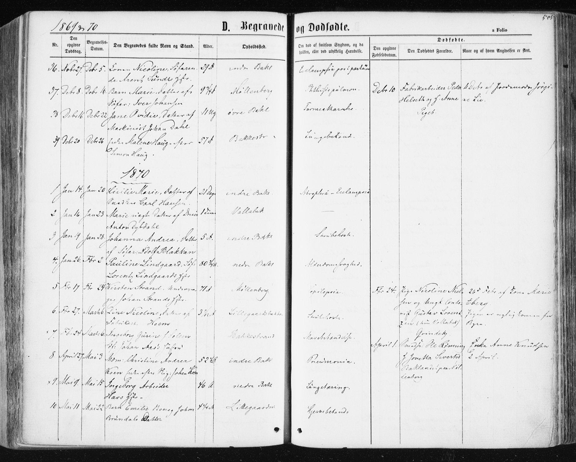 SAT, Ministerialprotokoller, klokkerbøker og fødselsregistre - Sør-Trøndelag, 604/L0186: Ministerialbok nr. 604A07, 1866-1877, s. 505