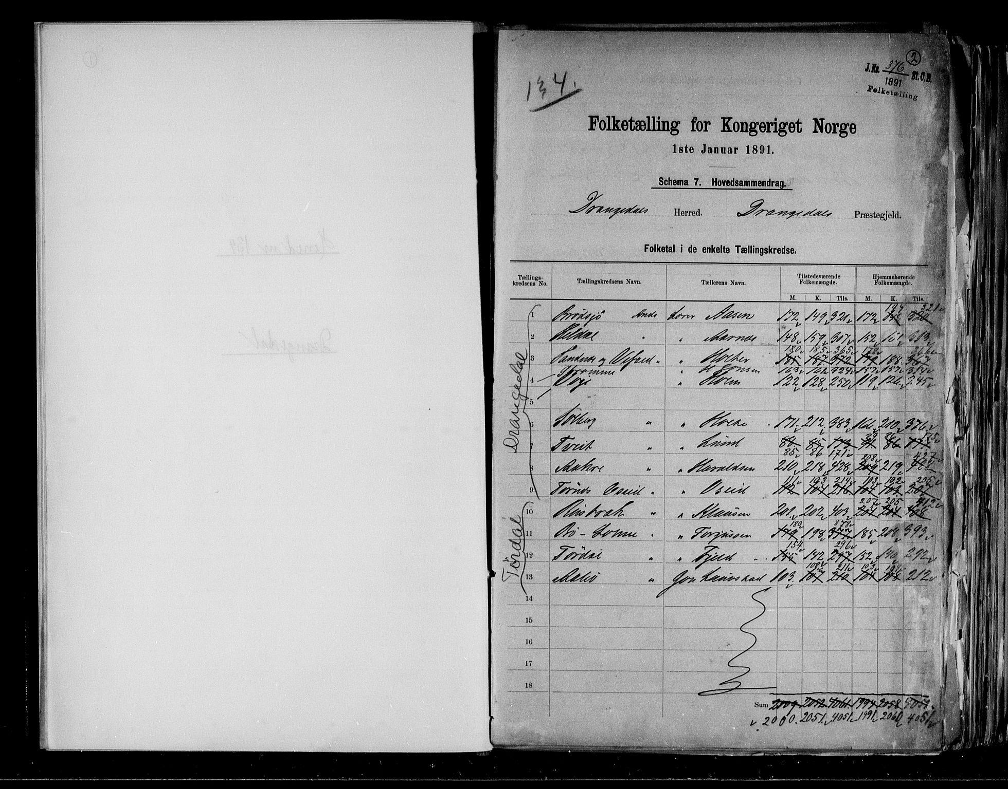 RA, Folketelling 1891 for 0817 Drangedal herred, 1891, s. 2
