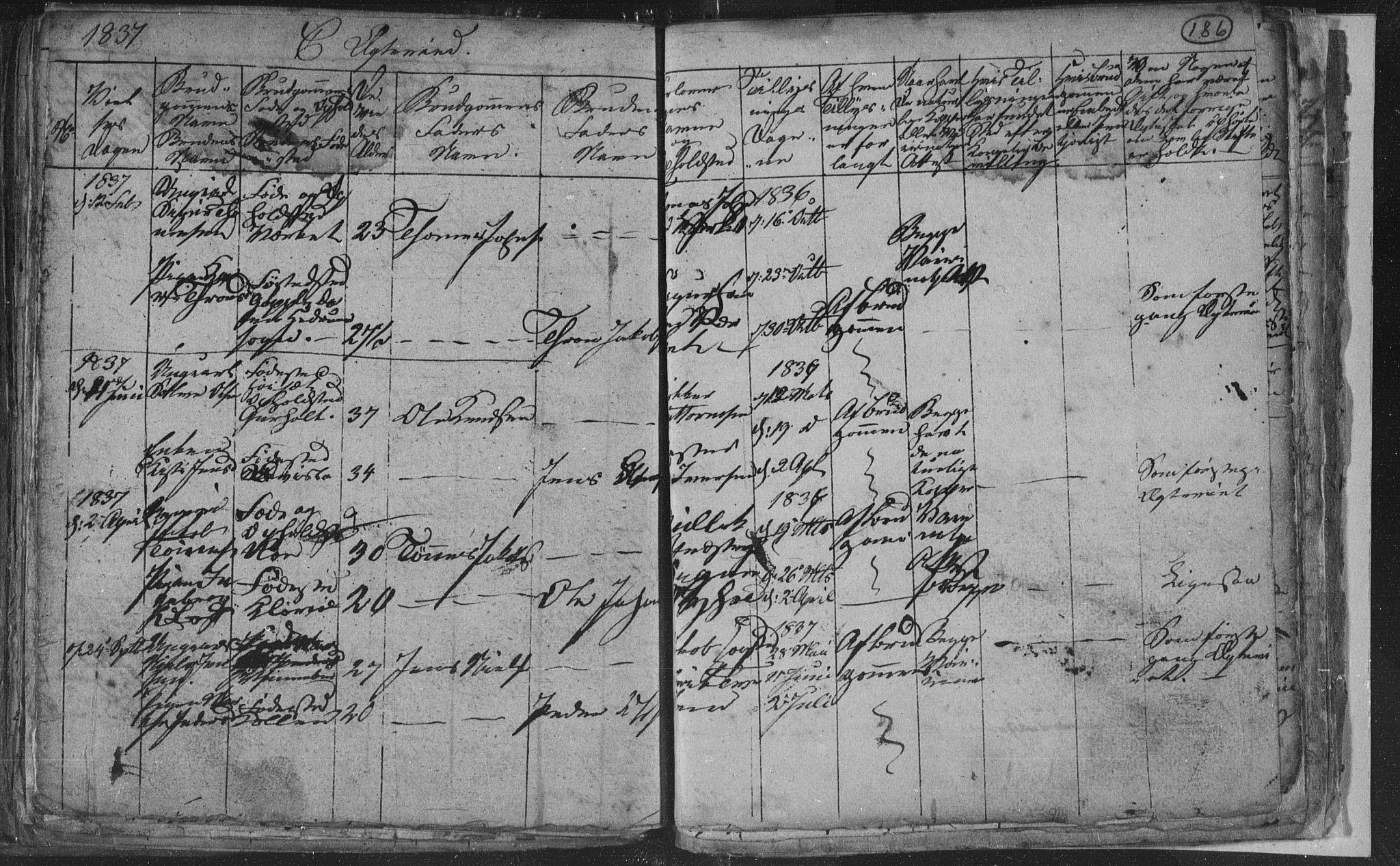 SAKO, Siljan kirkebøker, G/Ga/L0001: Klokkerbok nr. 1, 1827-1847, s. 186