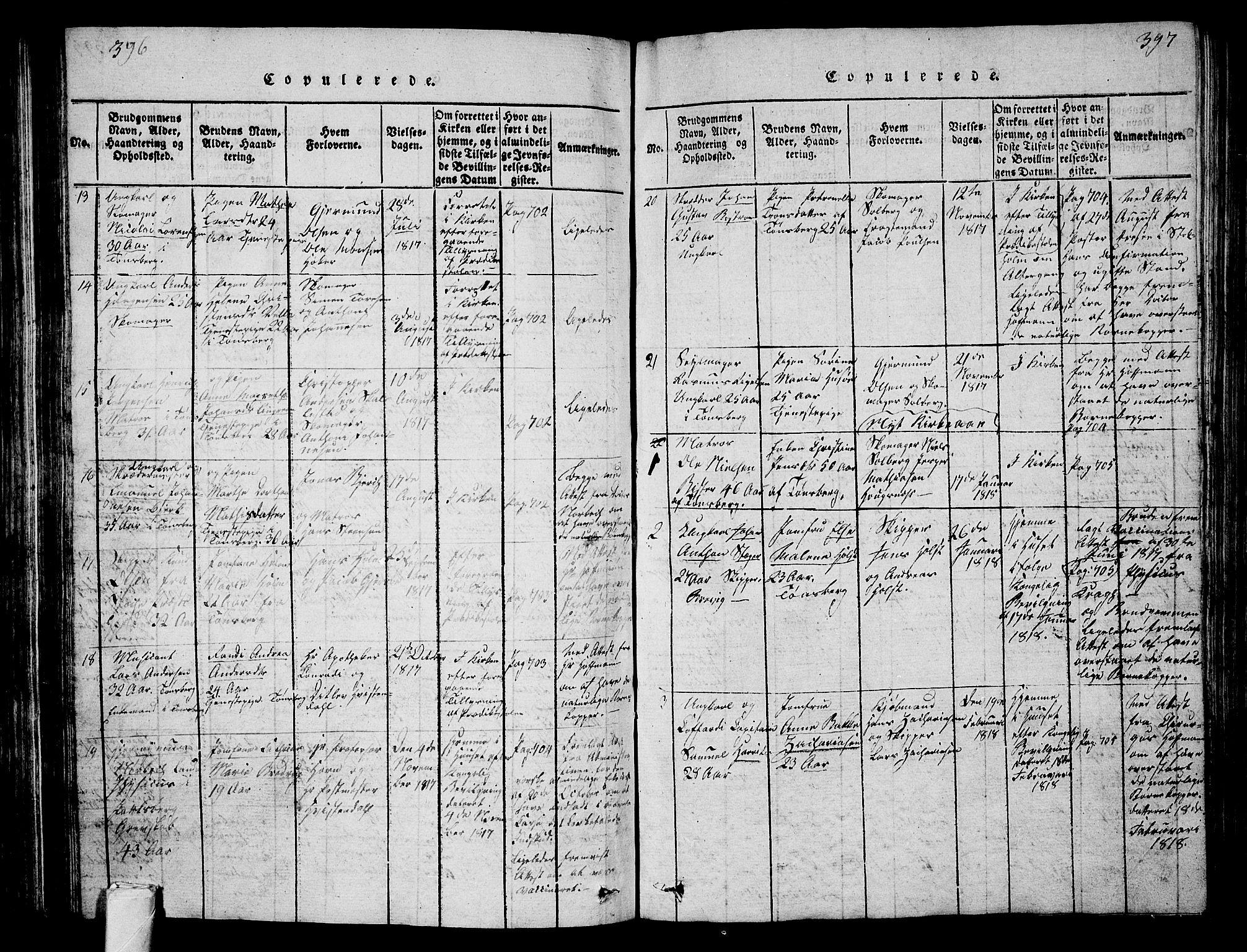 SAKO, Tønsberg kirkebøker, G/Ga/L0001: Klokkerbok nr. 1, 1813-1826, s. 396-397